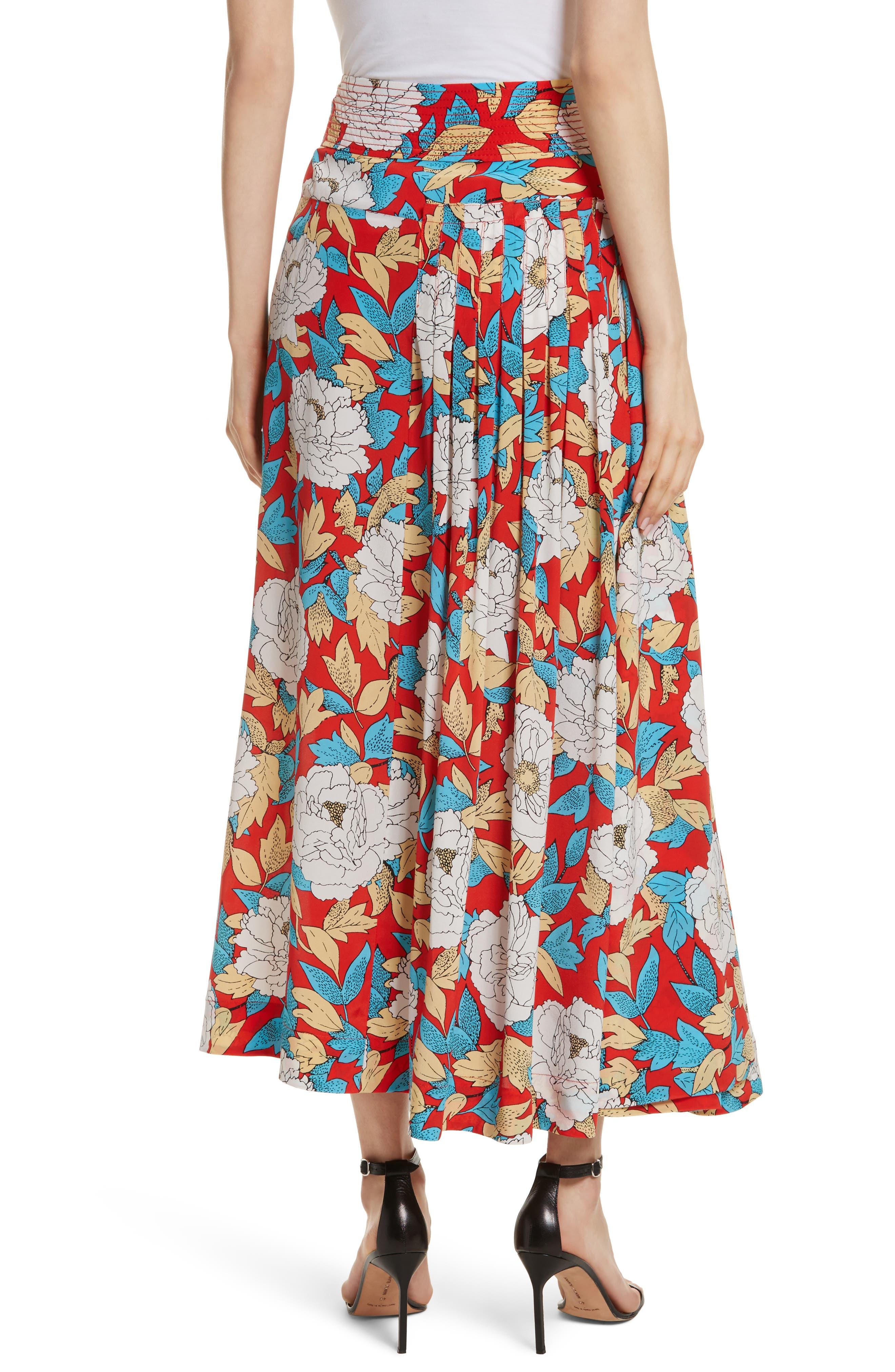 Diane von Furstenberg Floral Silk Midi Skirt,                             Alternate thumbnail 2, color,                             Boswell Poppy
