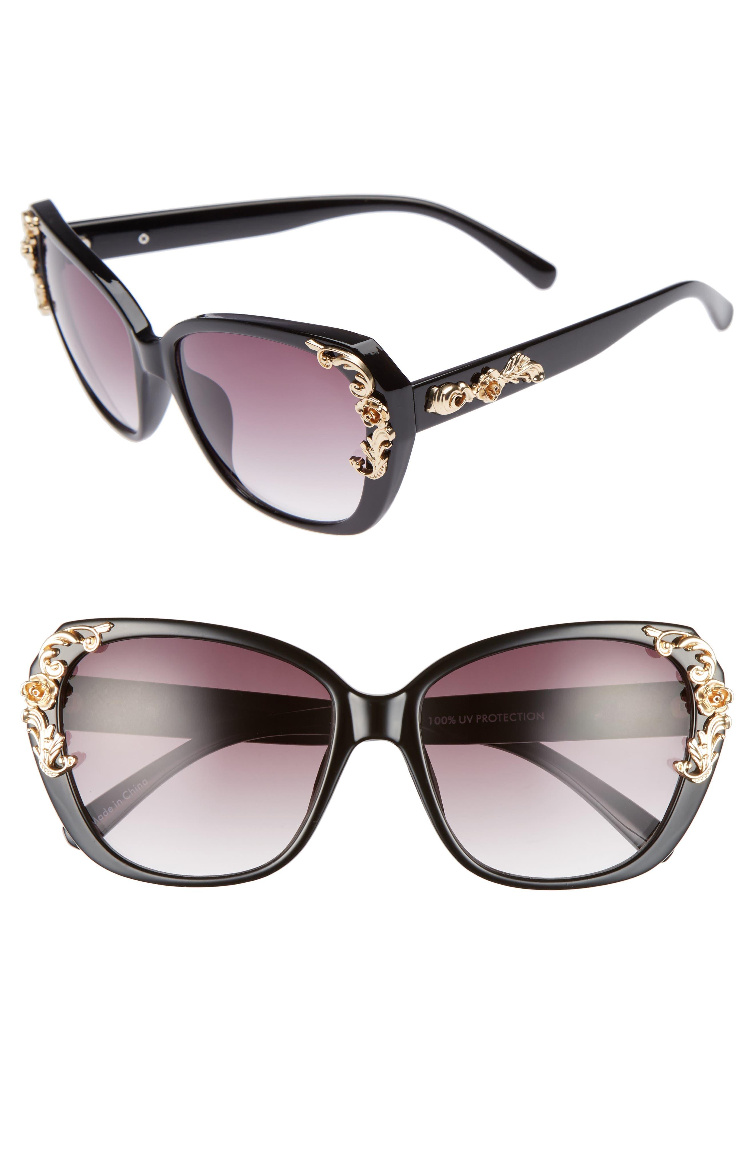 56mm Filigree Embellished Square Sunglasses,                         Main,                         color, Black/ Gold