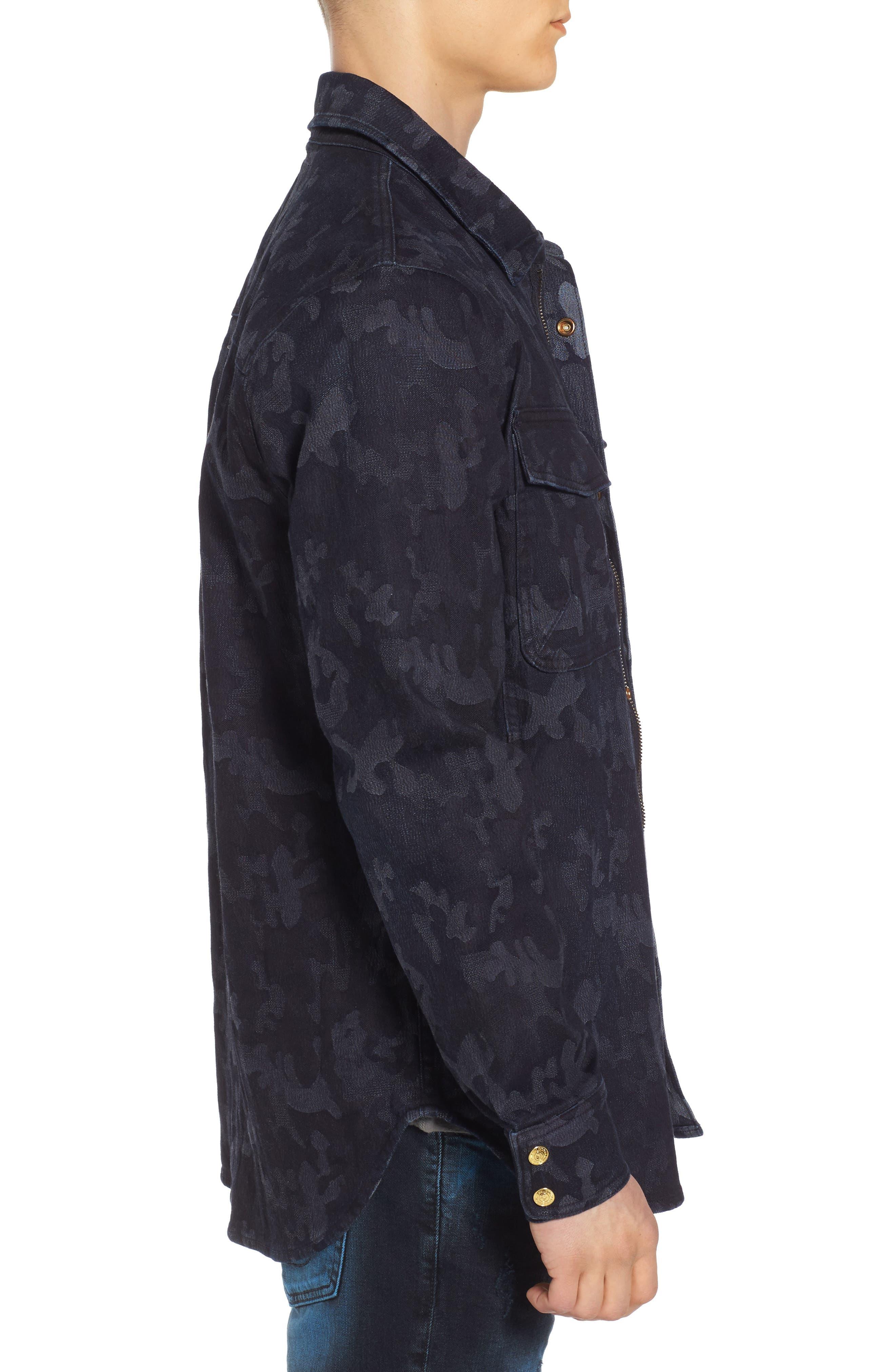 Camo Field Jacket,                             Alternate thumbnail 3, color,                             Indigo Camo