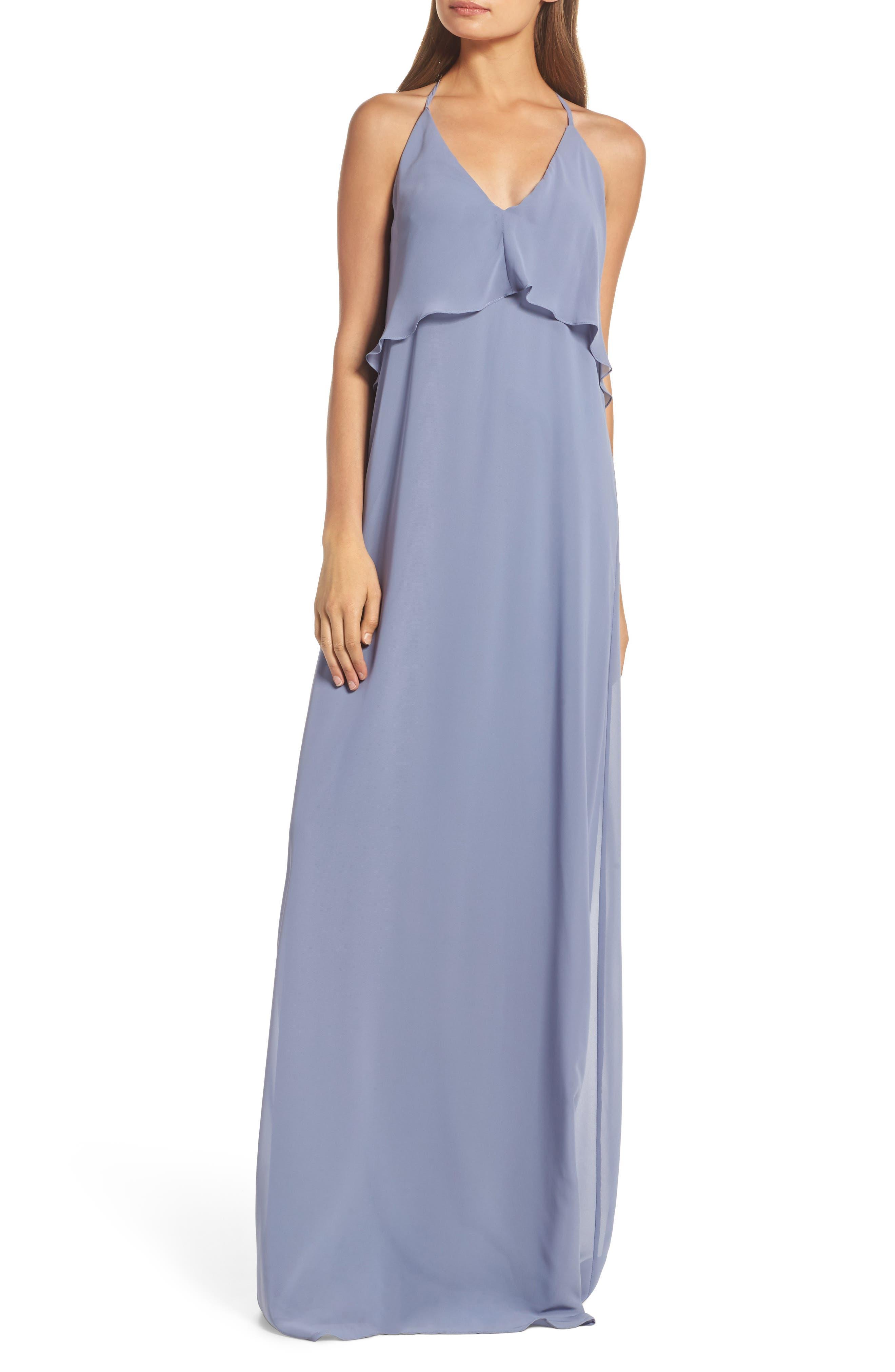 Ruffle Halter Neck Chiffon Gown,                         Main,                         color, Slate