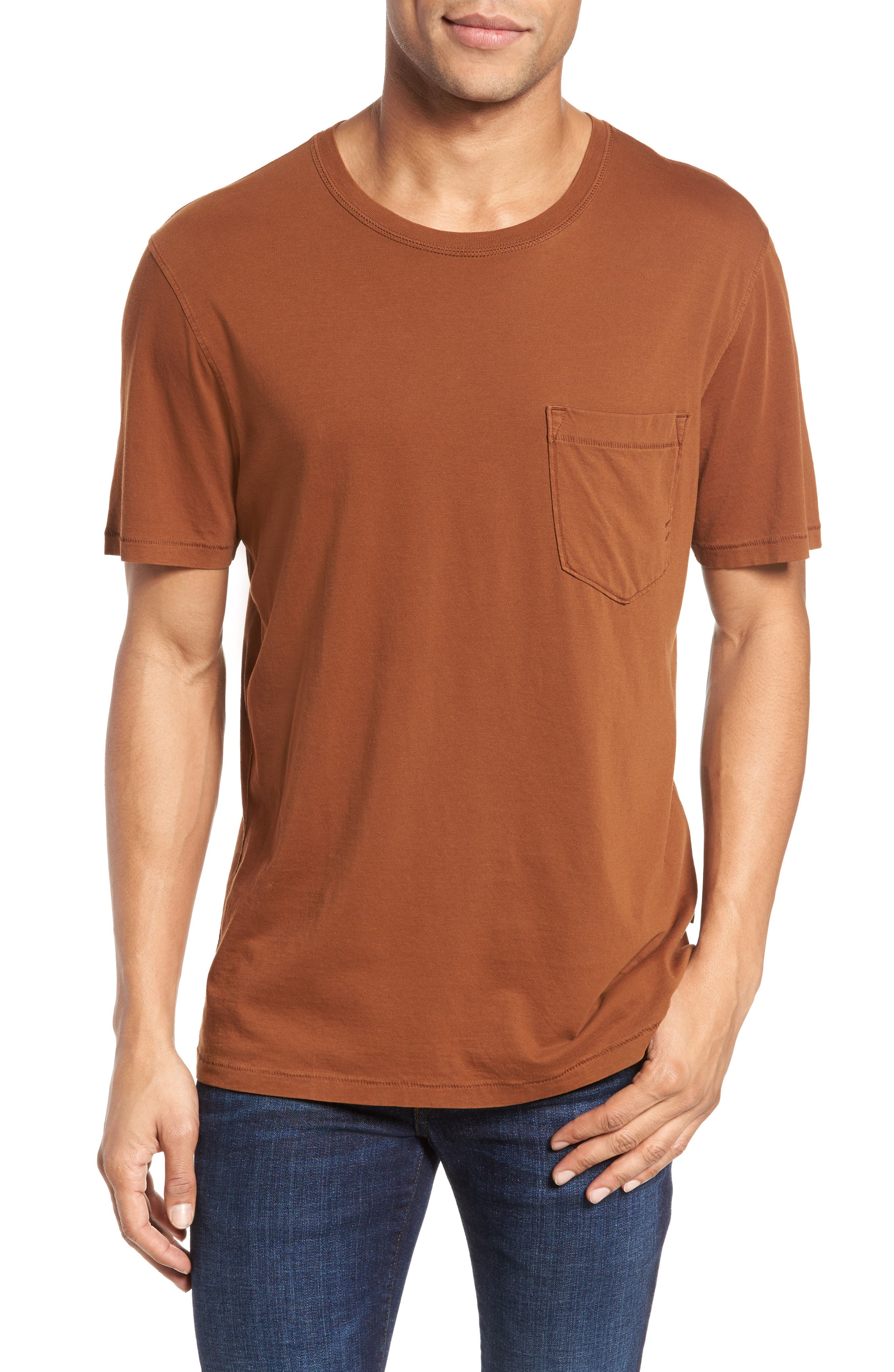 Crewneck T-Shirt,                         Main,                         color, Caramel
