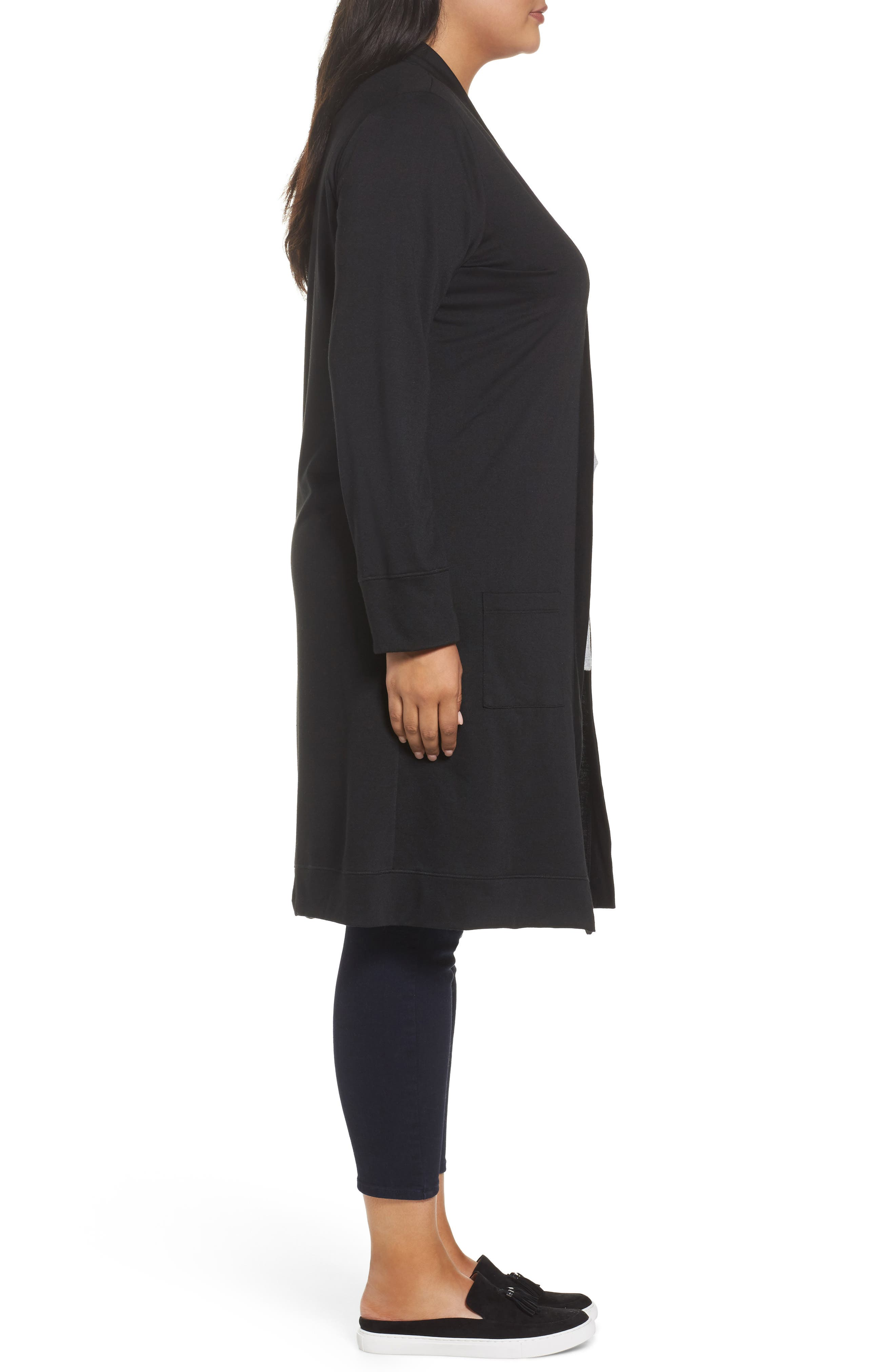 Long French Terry Cardigan,                             Alternate thumbnail 3, color,                             Black