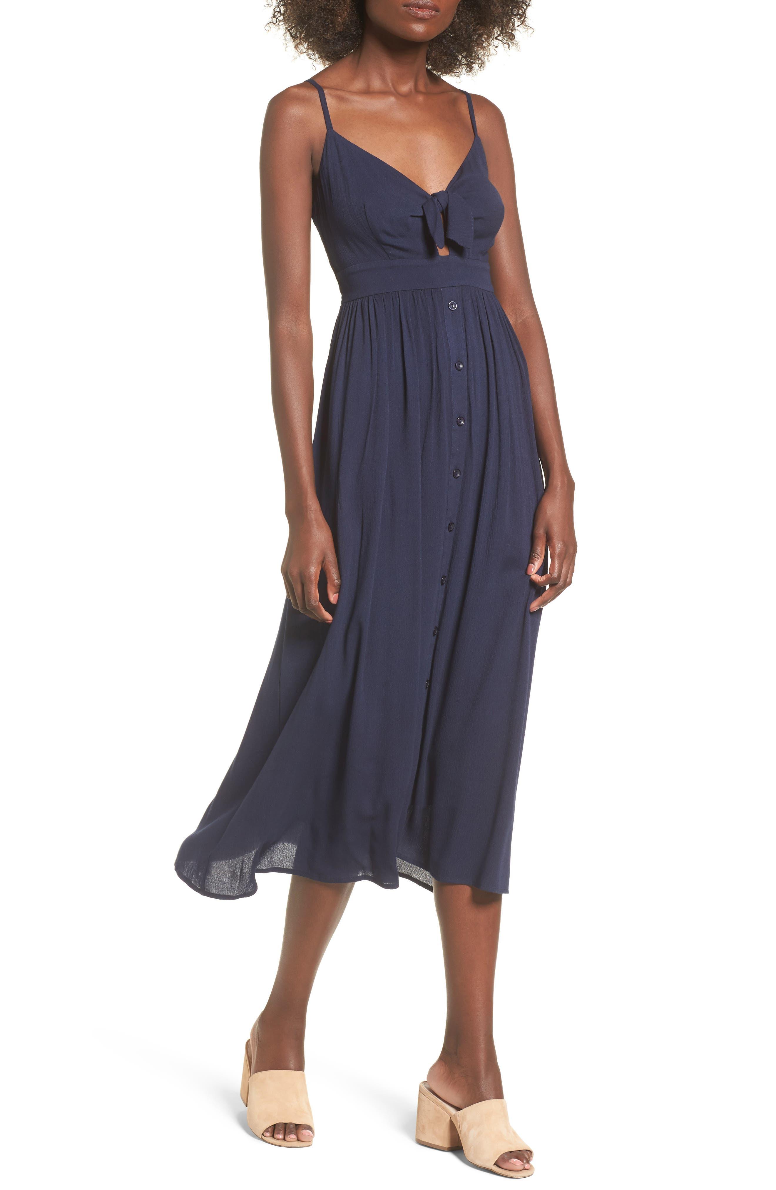 Tie Front Midi Dress,                         Main,                         color, Navy