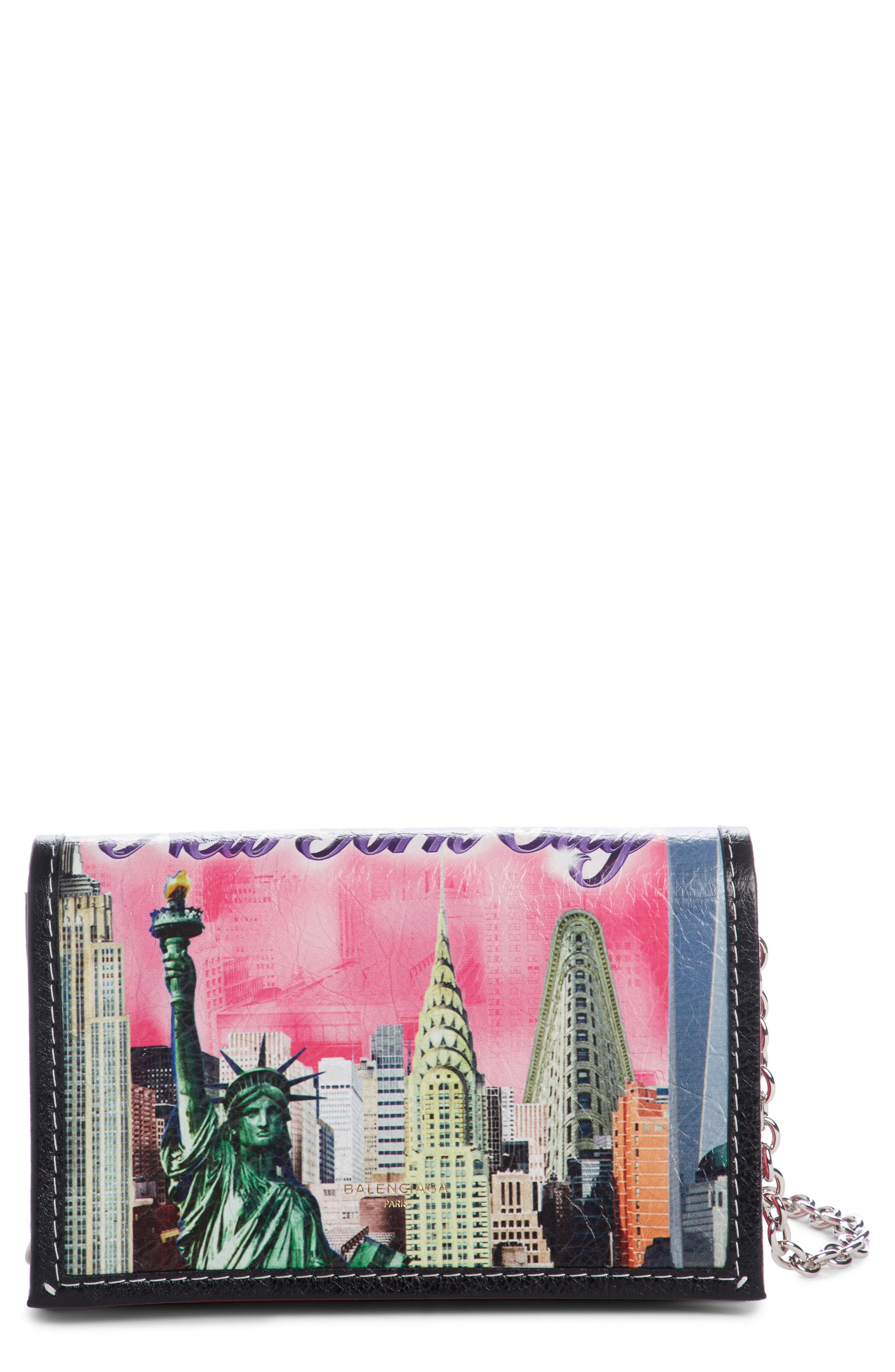 Bazar Printed Leather Wallet on a Chain,                         Main,                         color, New York City Black Multi