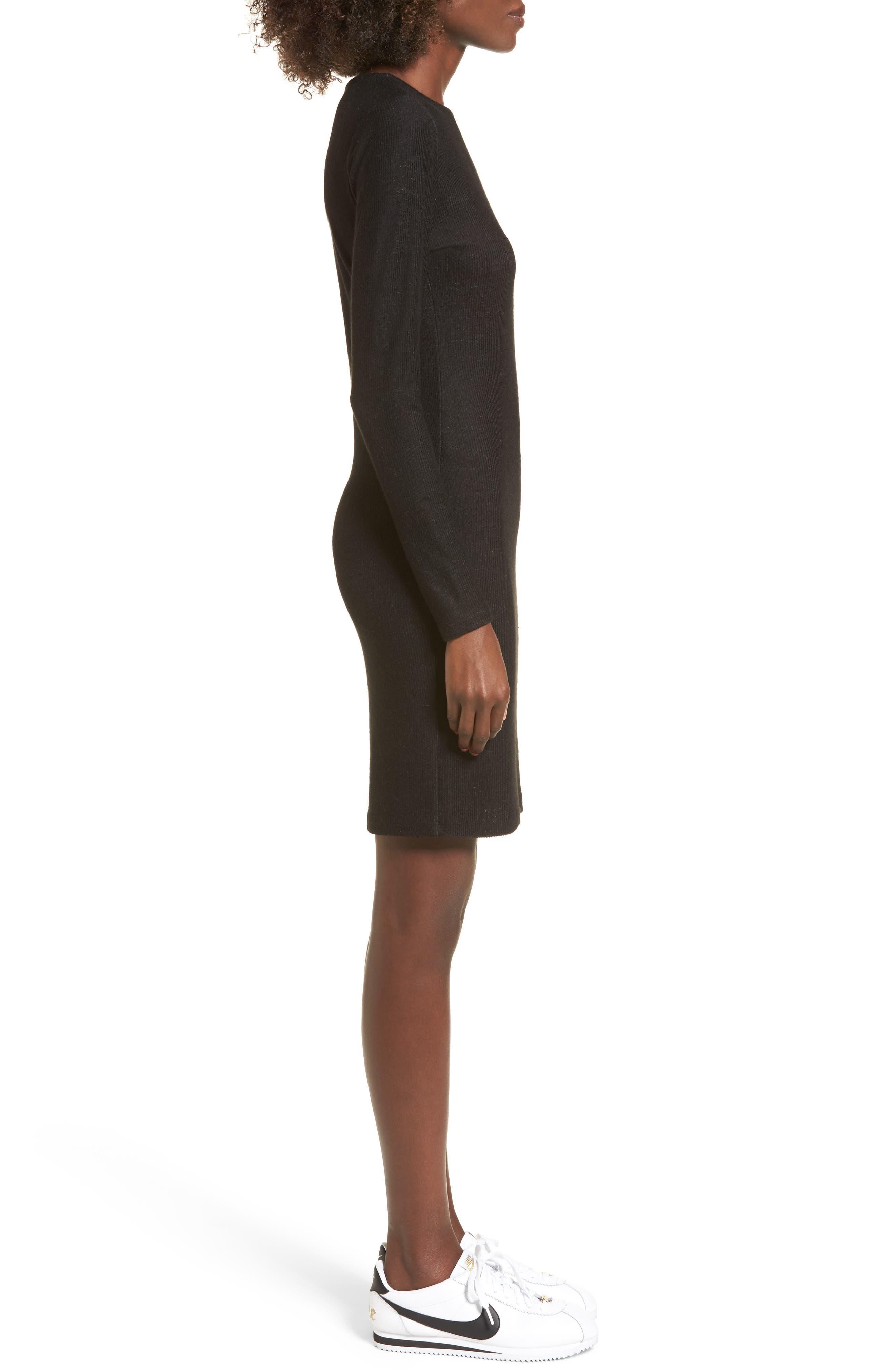 Ribbed Body-Con Dress,                             Alternate thumbnail 3, color,                             Black