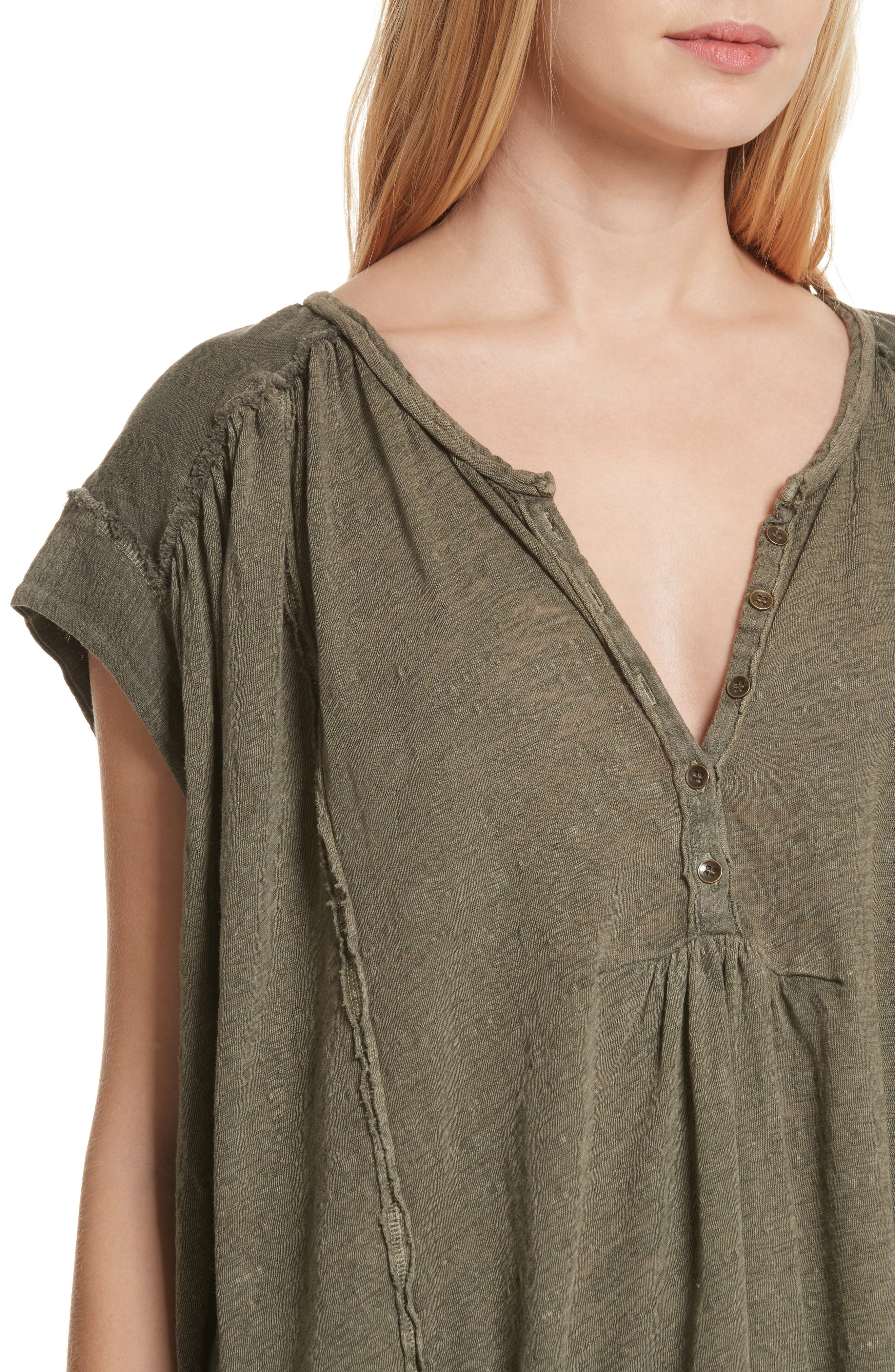 Aster Henley Top,                             Alternate thumbnail 4, color,                             Army
