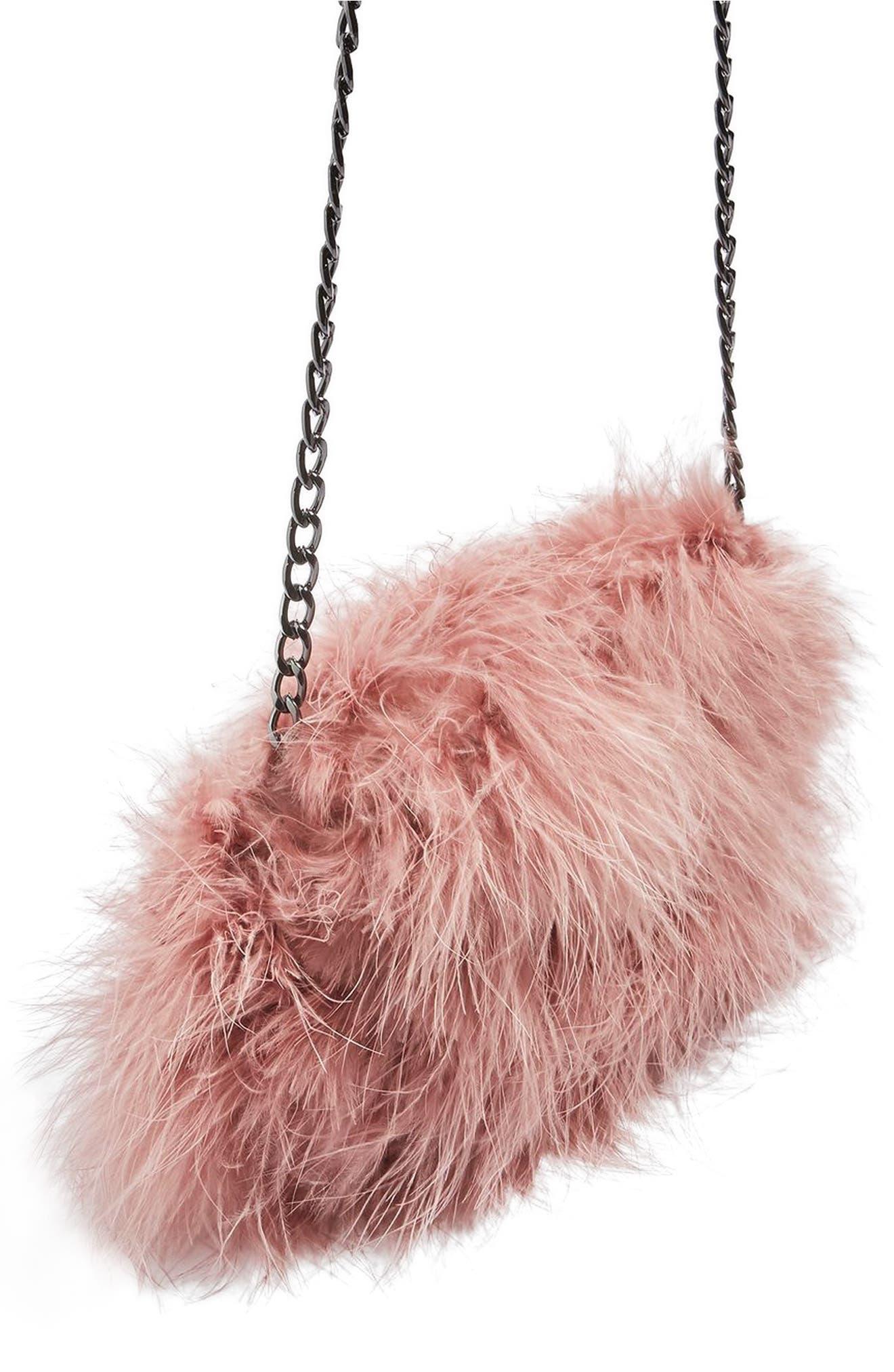 Alternate Image 1 Selected - Topshop Riga Feather Crossbody Bag
