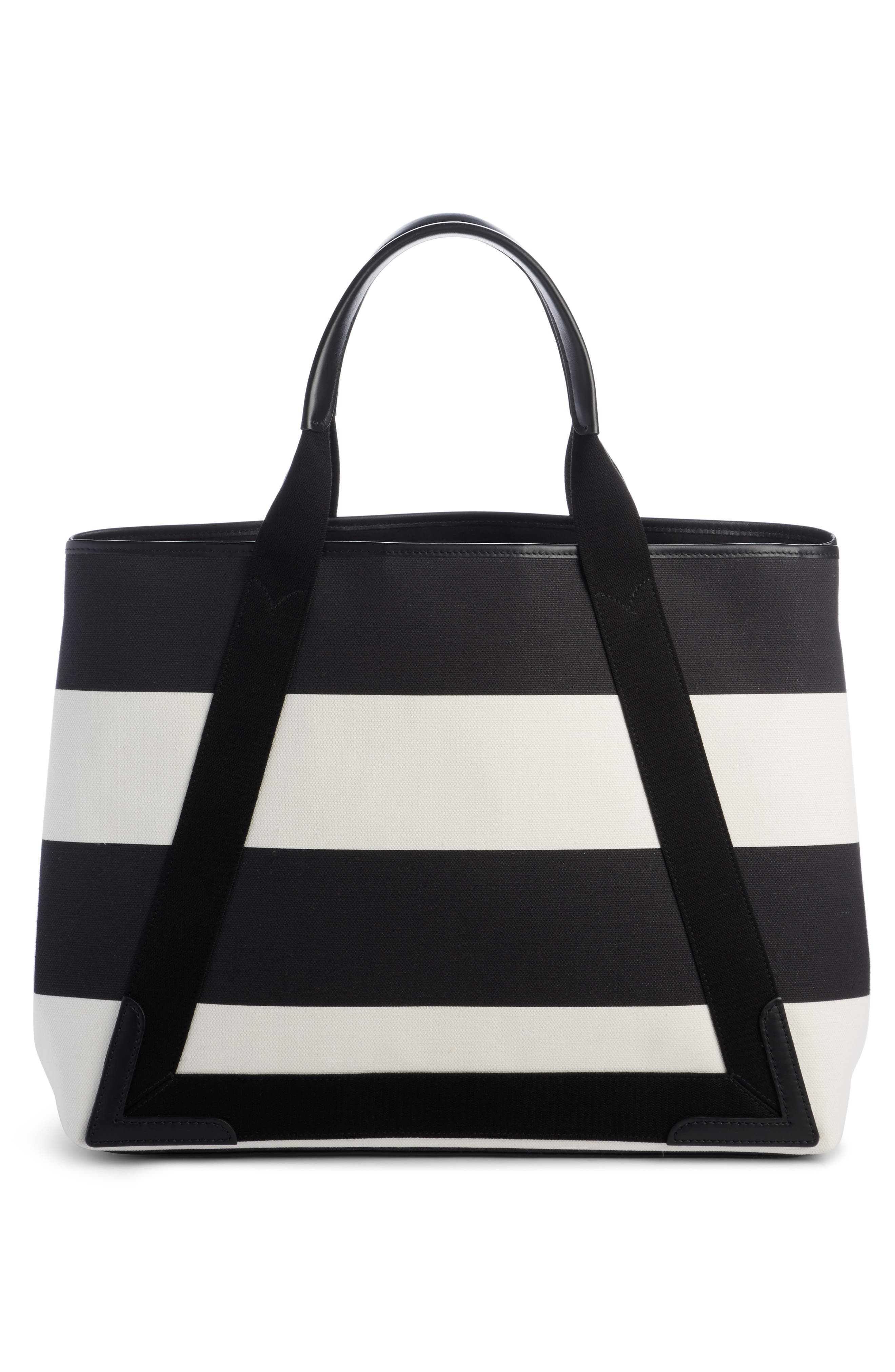 Medium Cabas Stripe Canvas Tote,                             Alternate thumbnail 2, color,                             Noir/ Blanc/ Noir