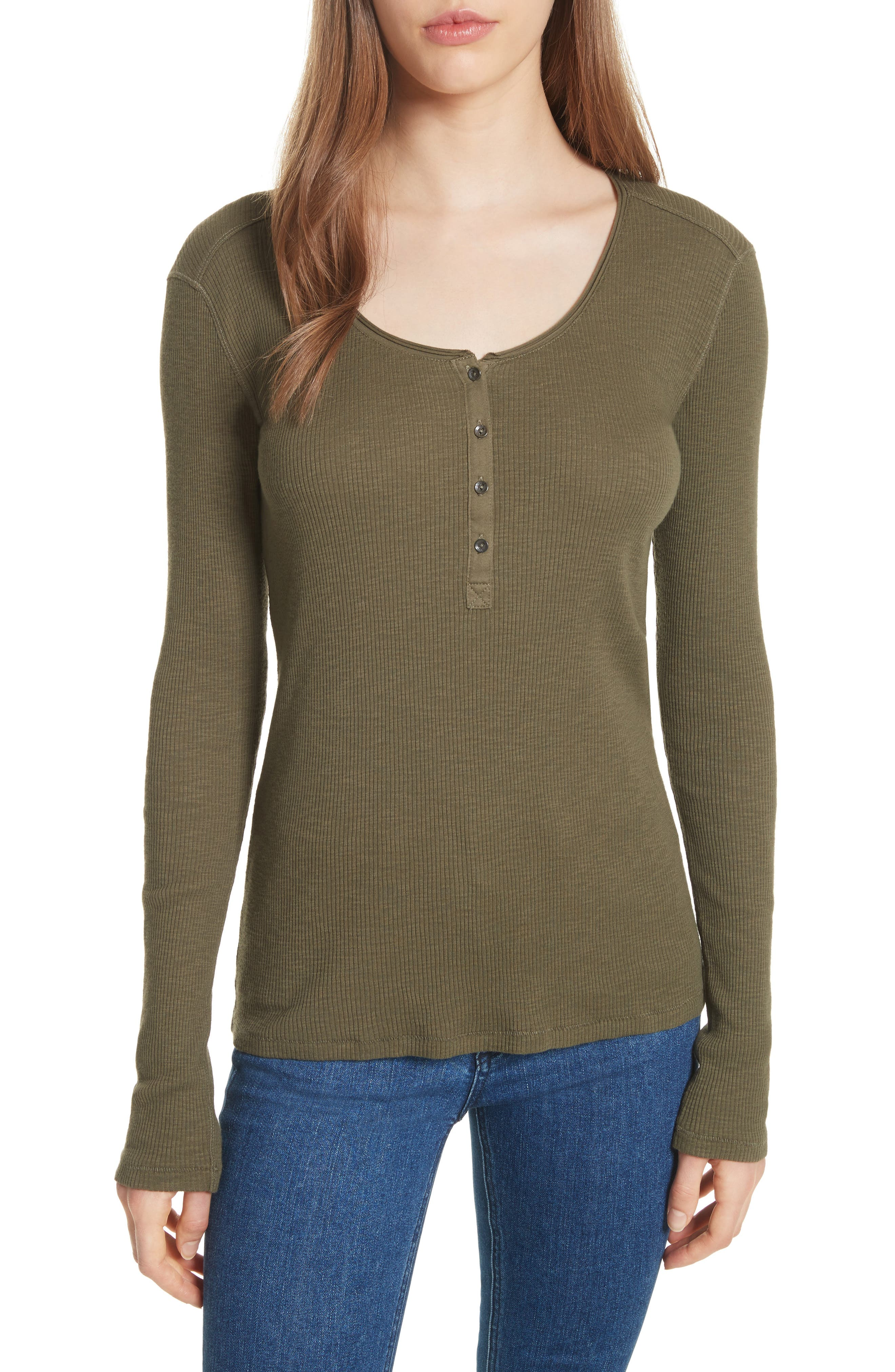 Lilies Henley,                             Main thumbnail 1, color,                             Dark Olive