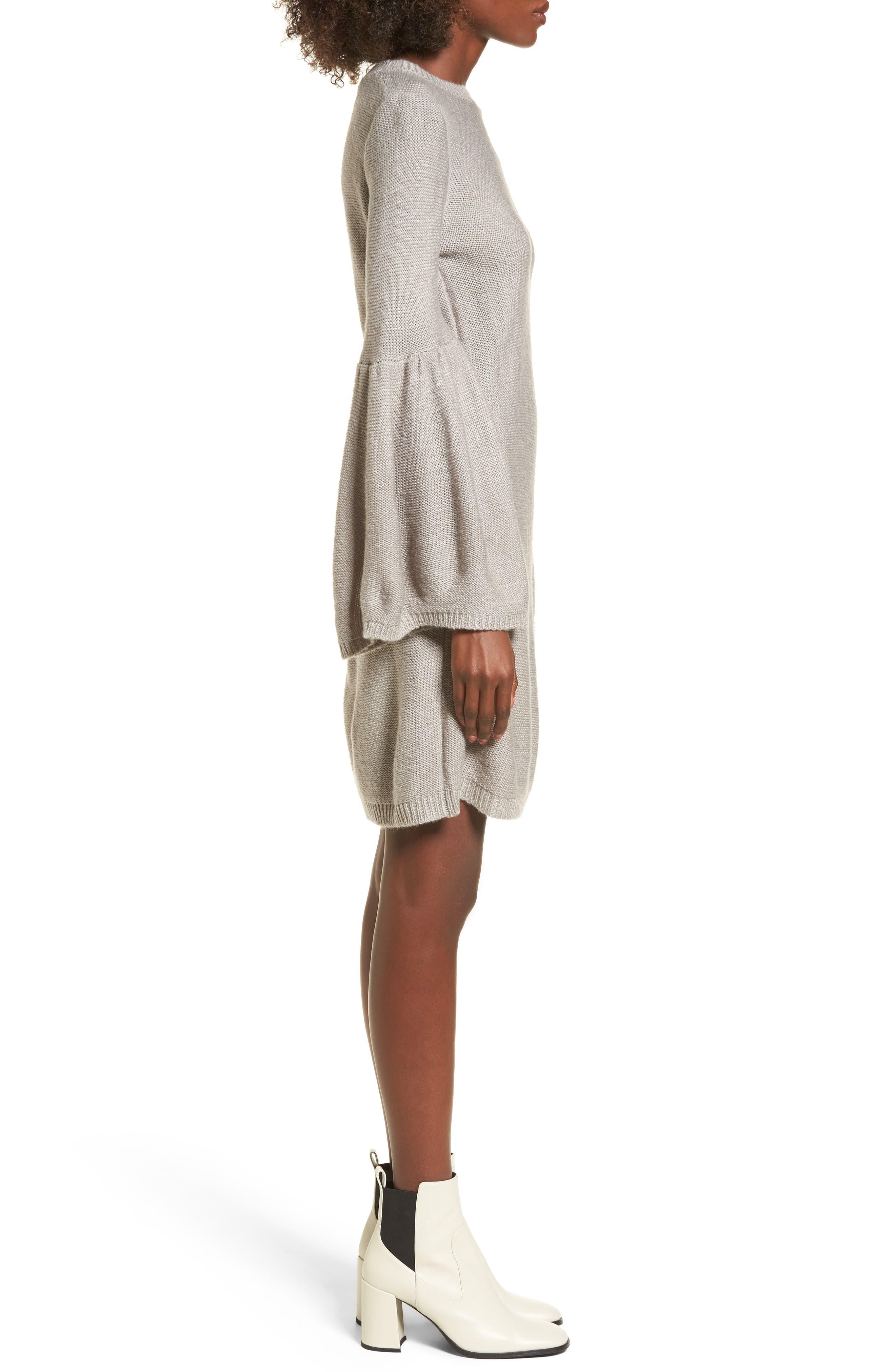 Bell Sleeve Sweater Dress,                             Alternate thumbnail 3, color,                             Light Heather Grey