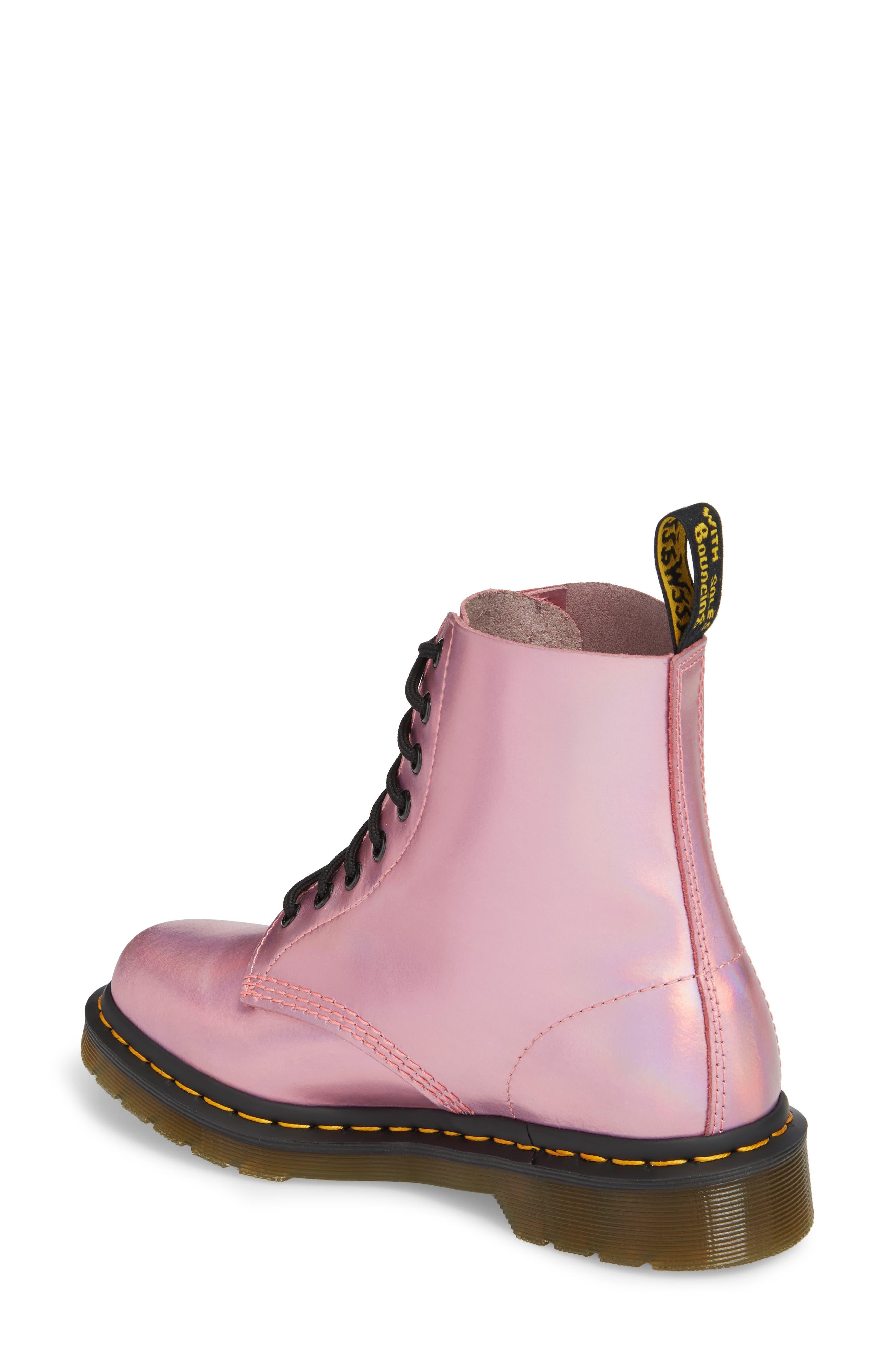 Pascal Metallic Combat Boot,                             Alternate thumbnail 3, color,                             Pink Metallic Leather