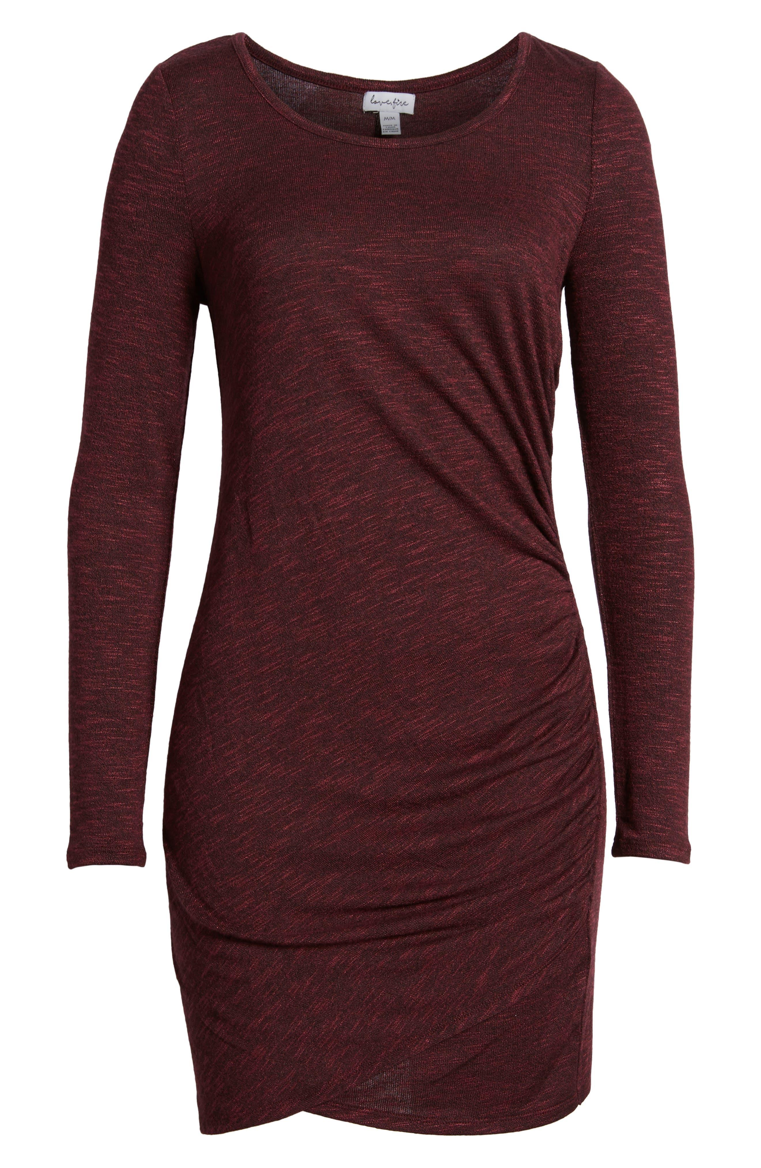 Ruched Knit Dress,                             Alternate thumbnail 6, color,                             Zinfandel