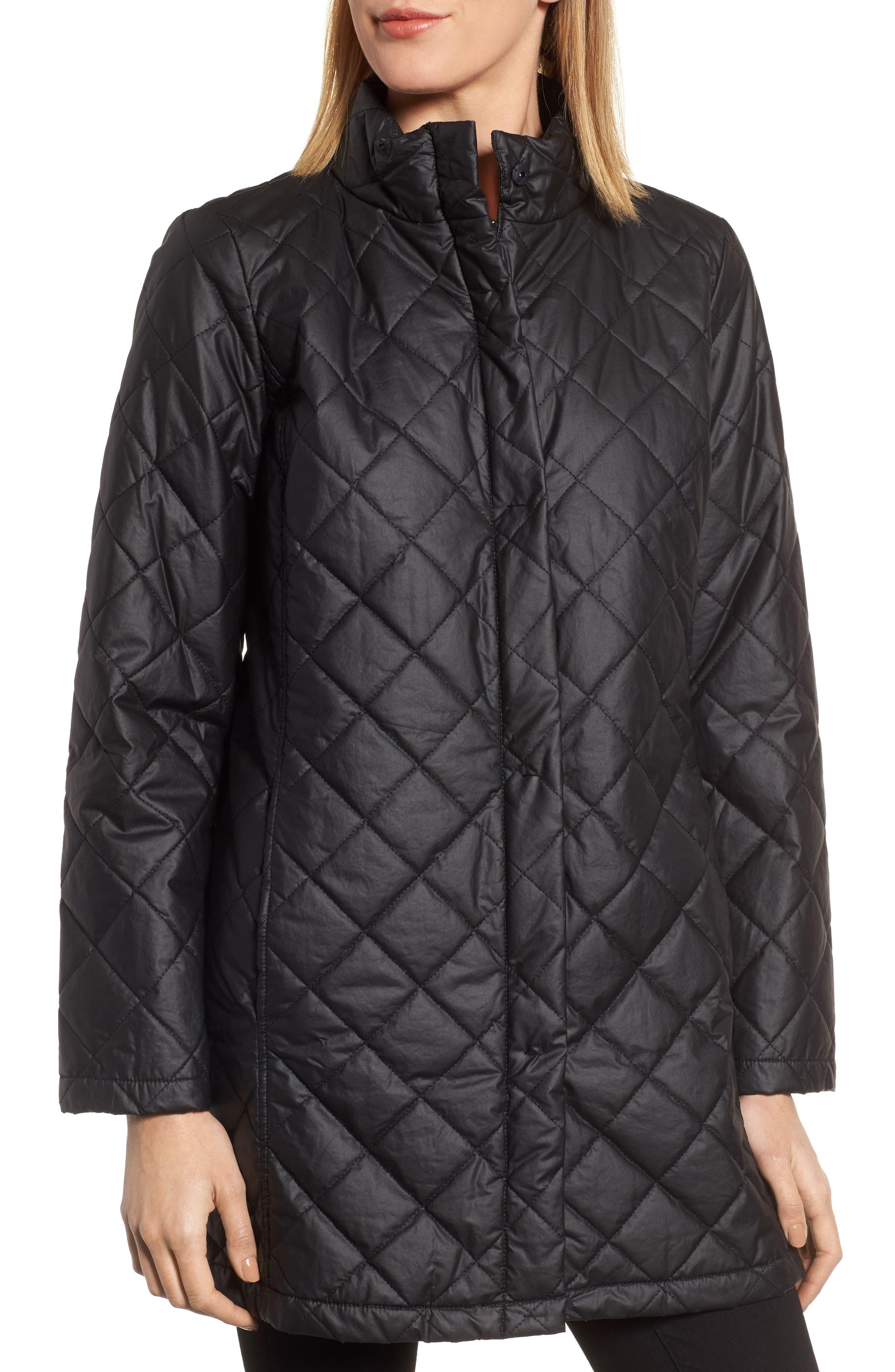 Stand Collar Organic Cotton Jacket,                             Alternate thumbnail 4, color,                             Black