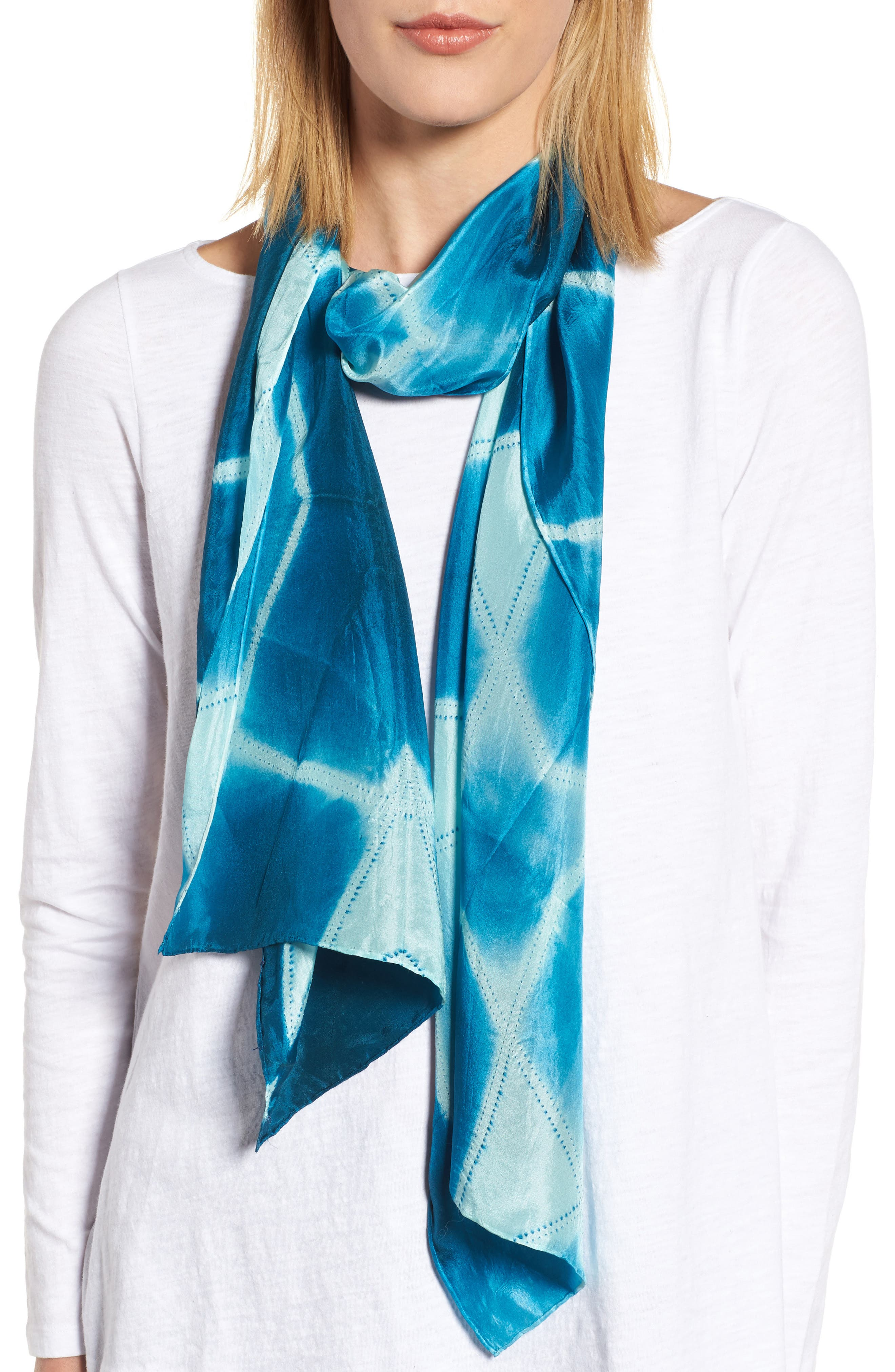 Tie Dye Silk Scarf,                             Main thumbnail 1, color,                             Blue Spruce