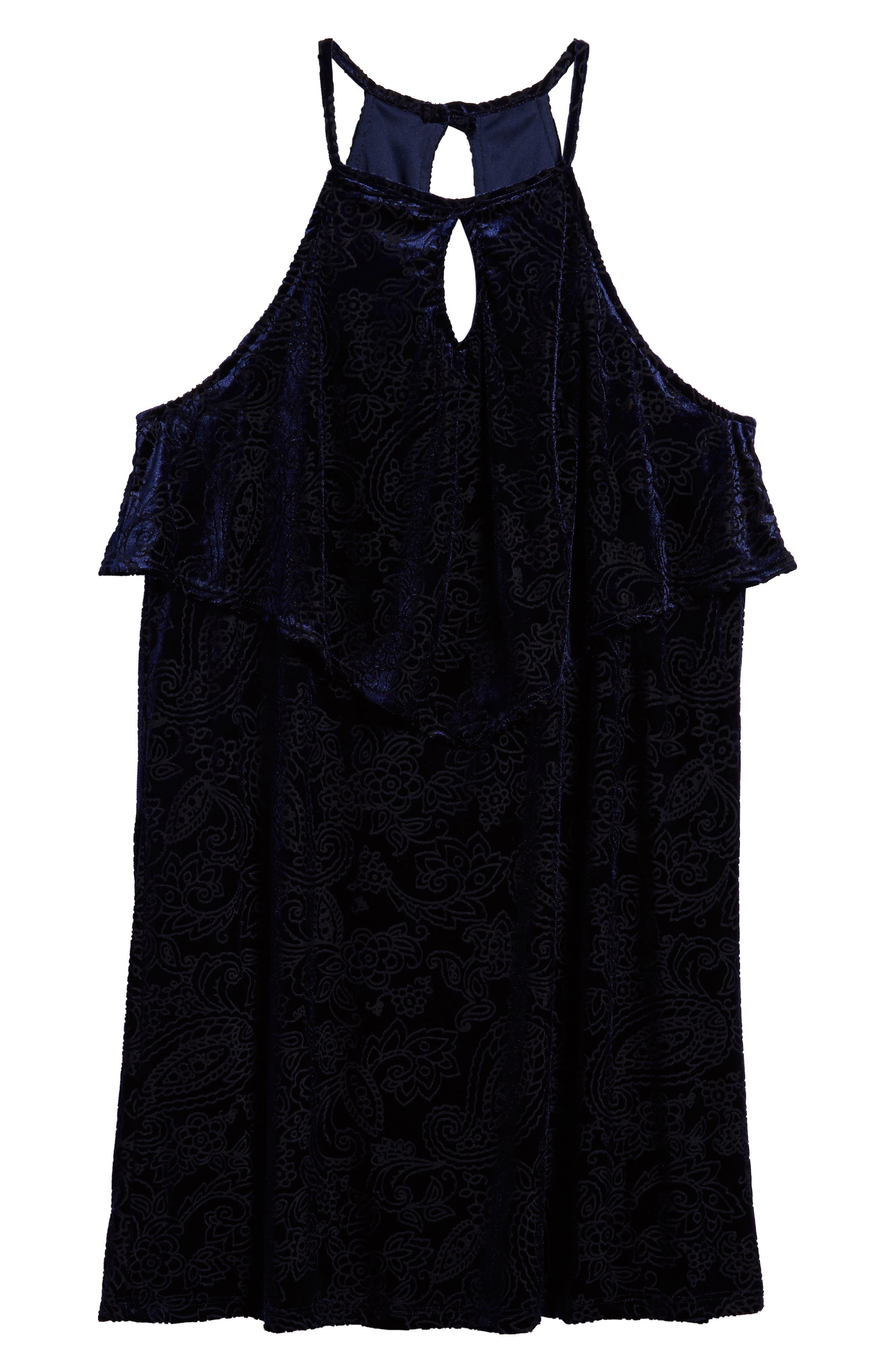 Burnout Velvet Dress,                         Main,                         color, Navy