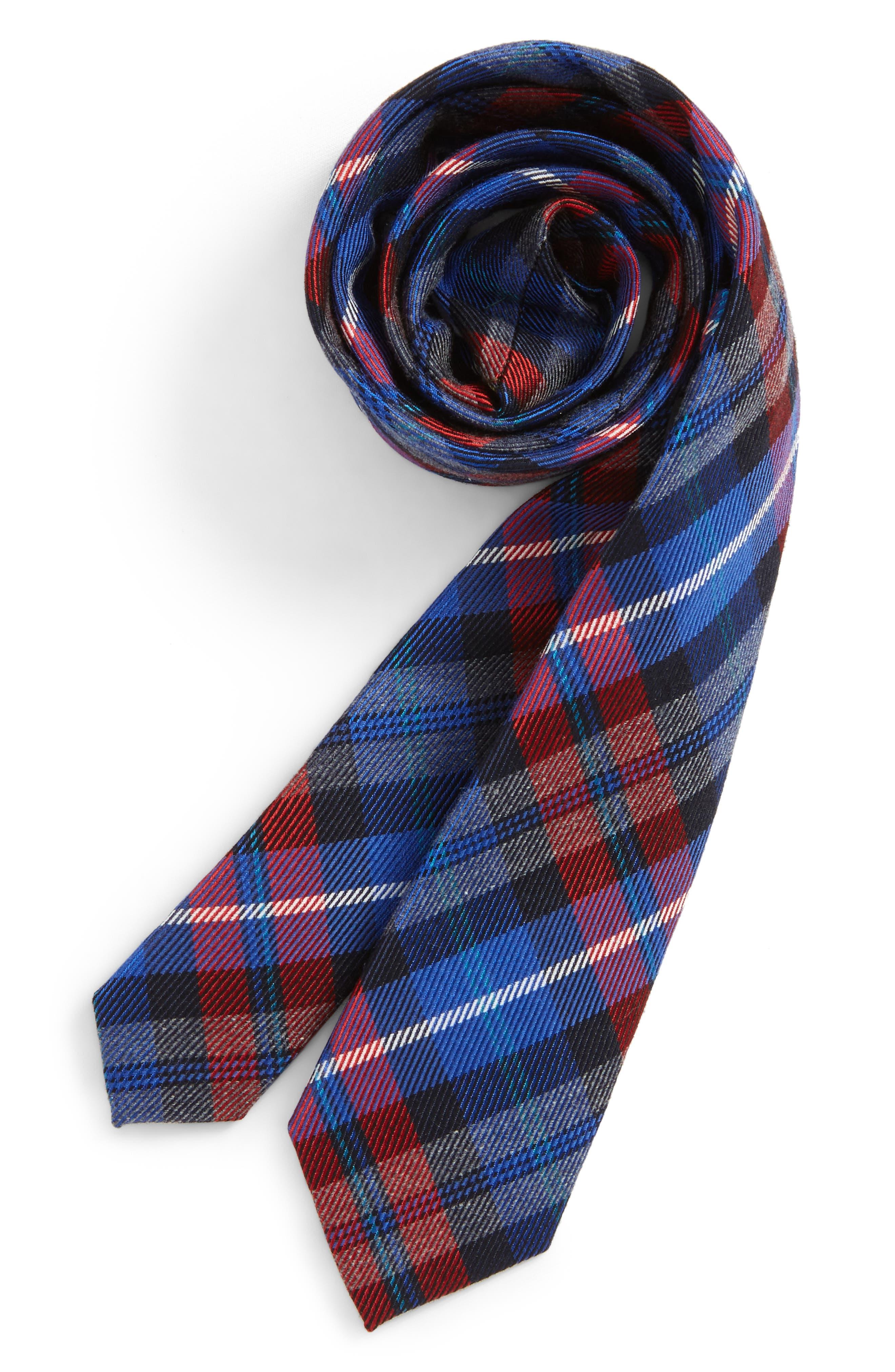 Plaid Tie,                         Main,                         color, Red