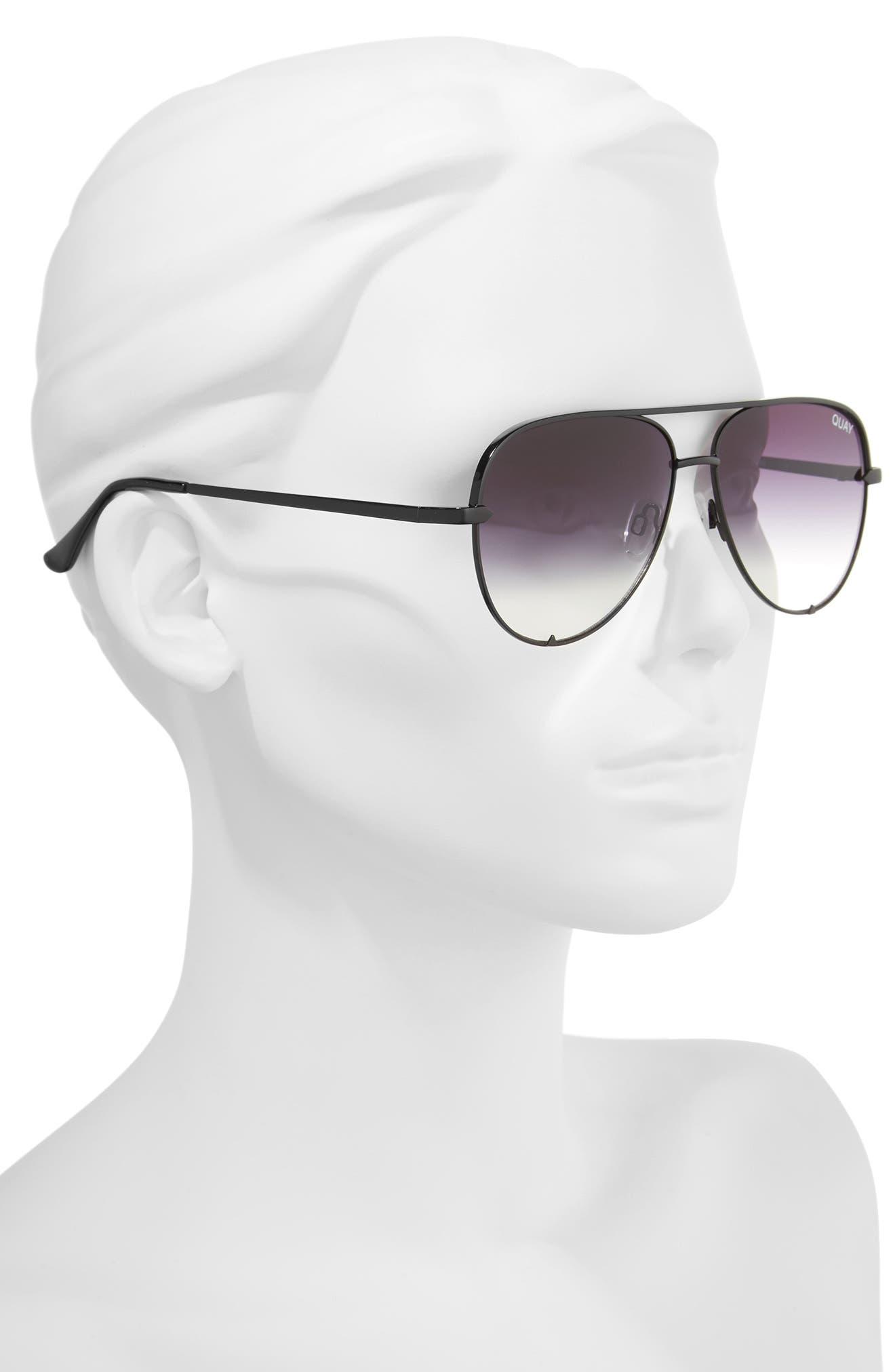 x Desi Perkins High Key Mini 57mm Aviator Sunglasses,                             Alternate thumbnail 4, color,                             Black/ Fade To Clear