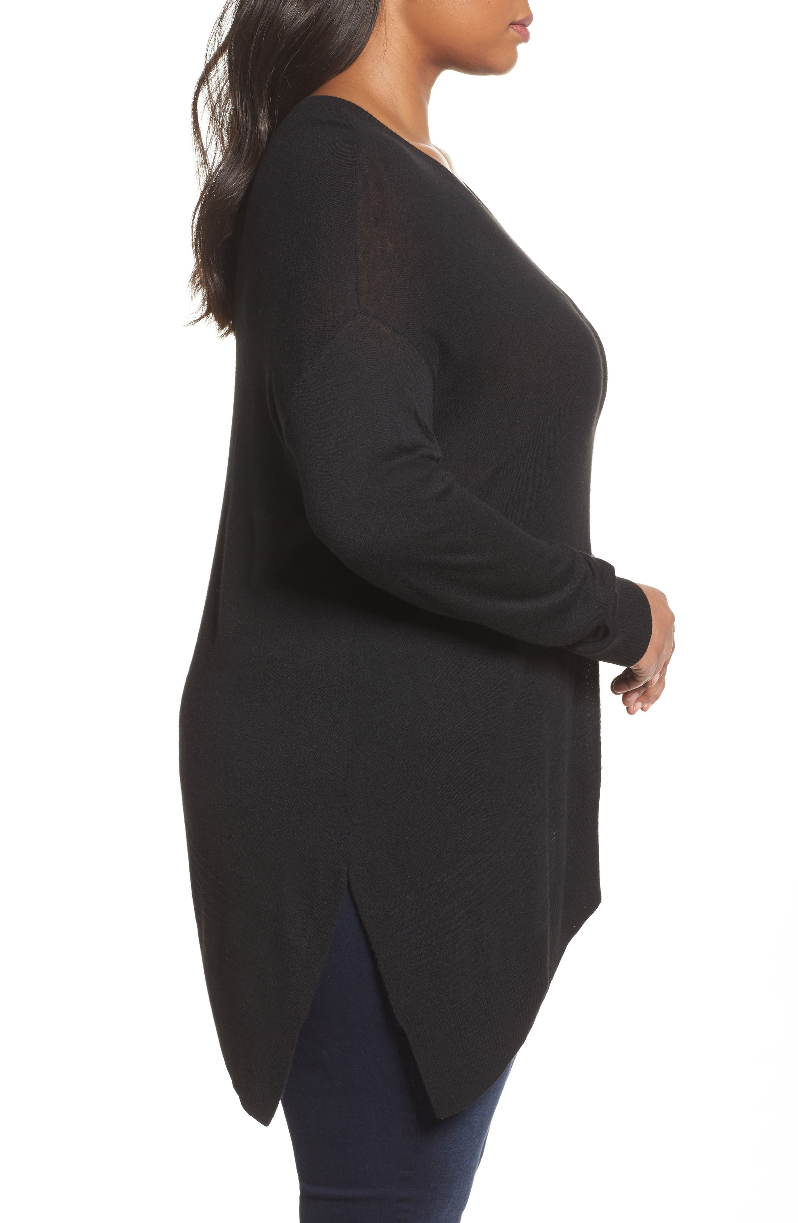 Alternate Image 3  - Sejour Asymmetrical Hem Sweater (Plus Size)