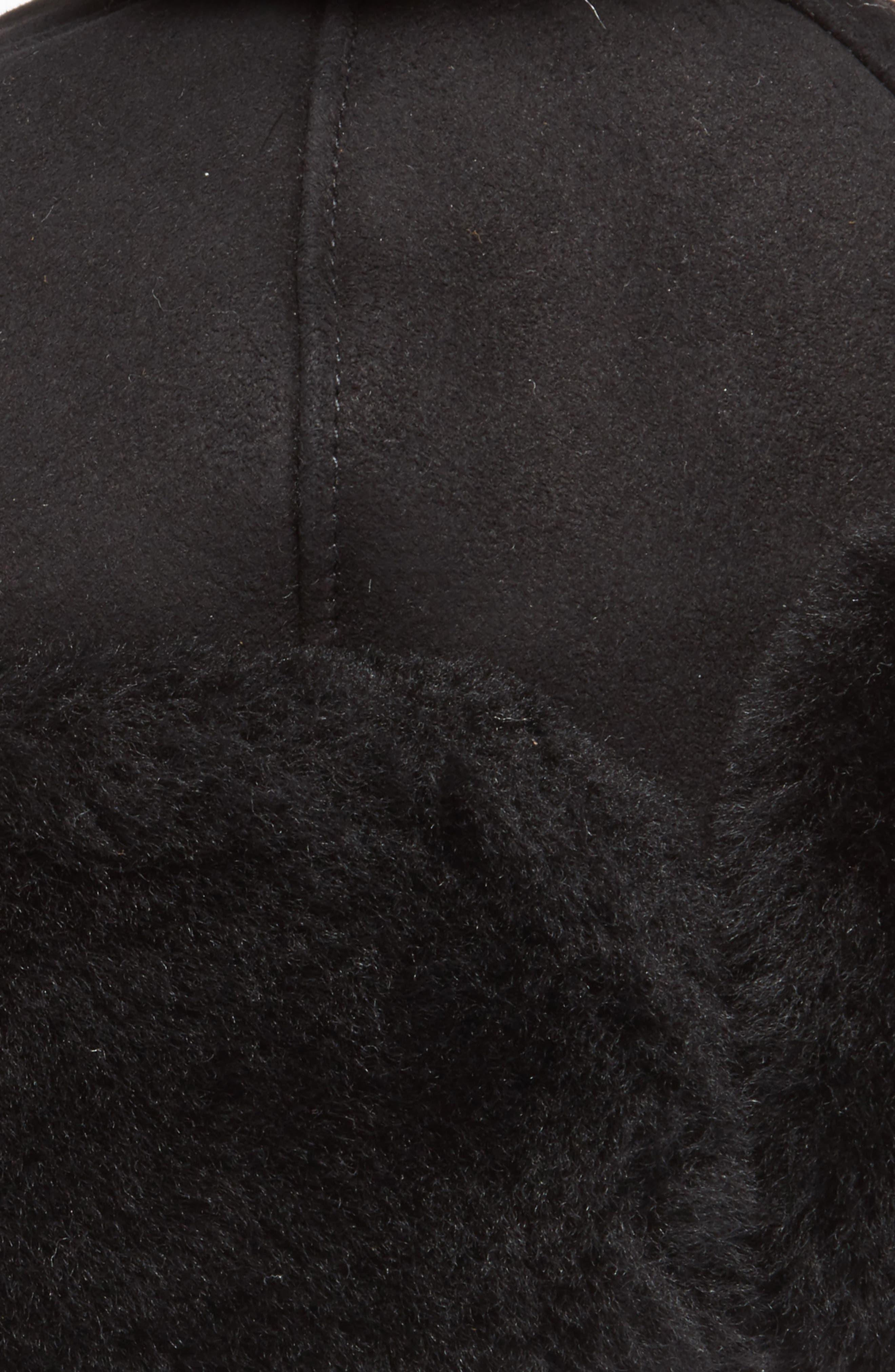 Genuine Shearling Pom Hat,                             Alternate thumbnail 2, color,                             Black