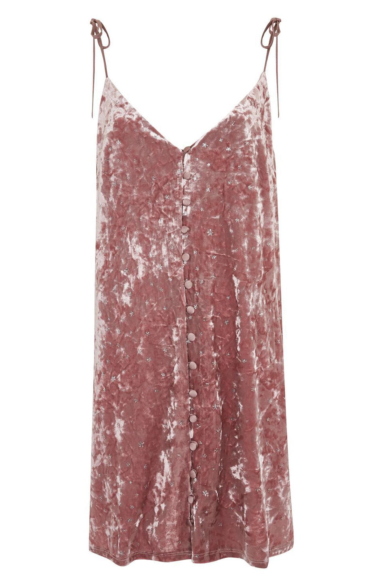 Glitter Star Velvet Slipdress,                             Alternate thumbnail 4, color,                             Light Pink