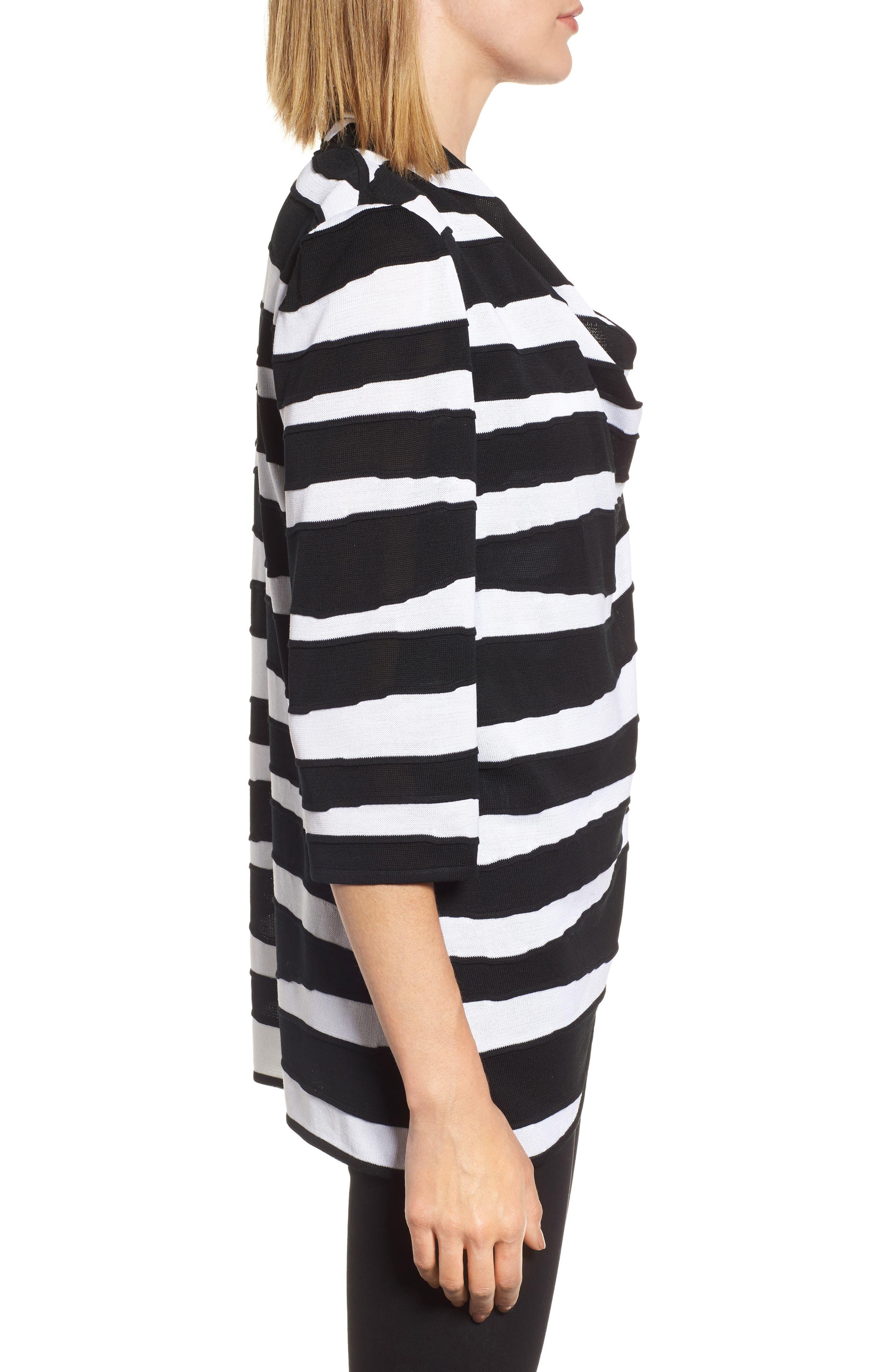 Animal Jacquard Knit Jacket,                             Alternate thumbnail 3, color,                             Black/ White