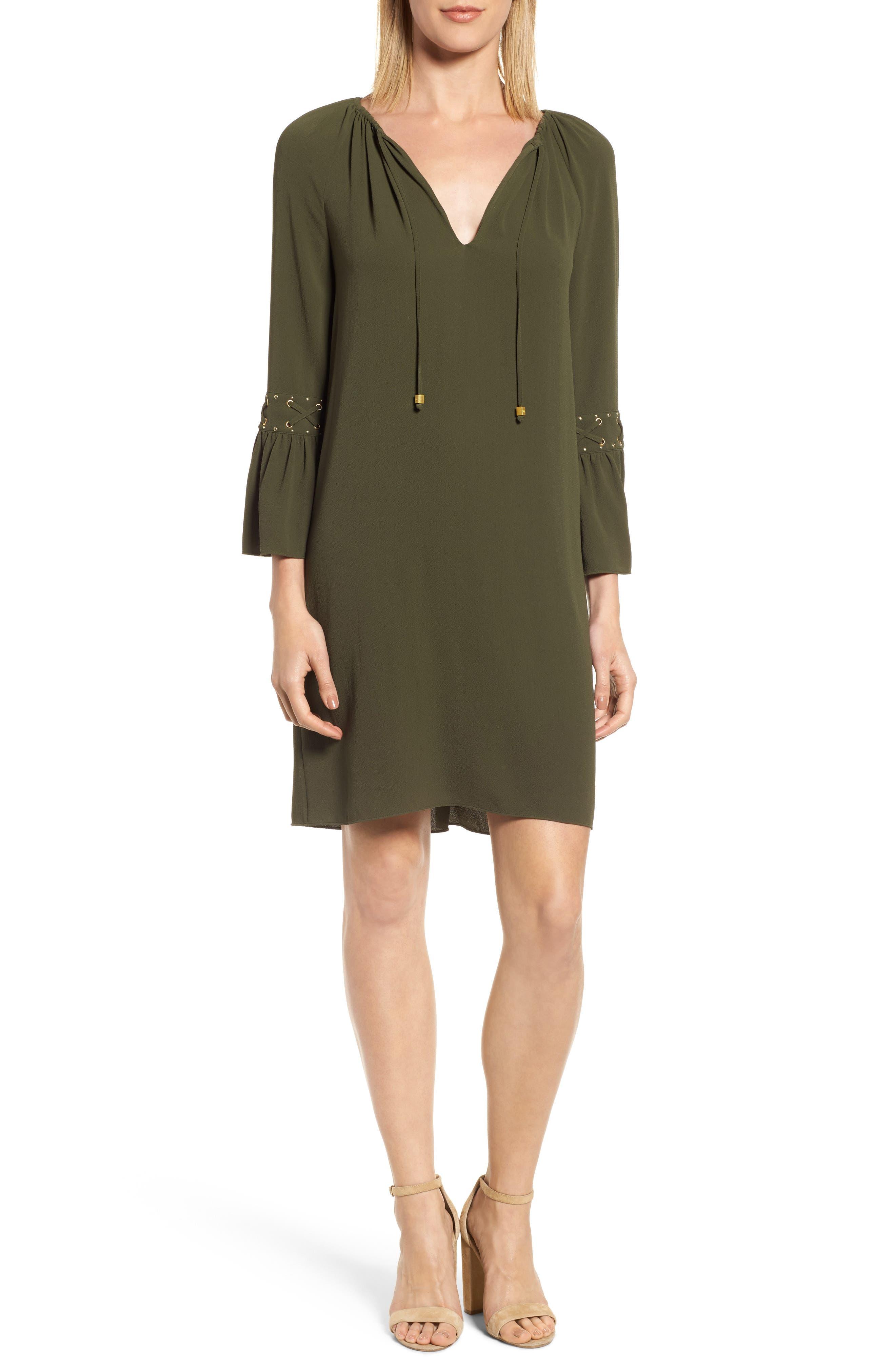 Lace-Up Sleeve Dress,                             Main thumbnail 1, color,                             Ivy