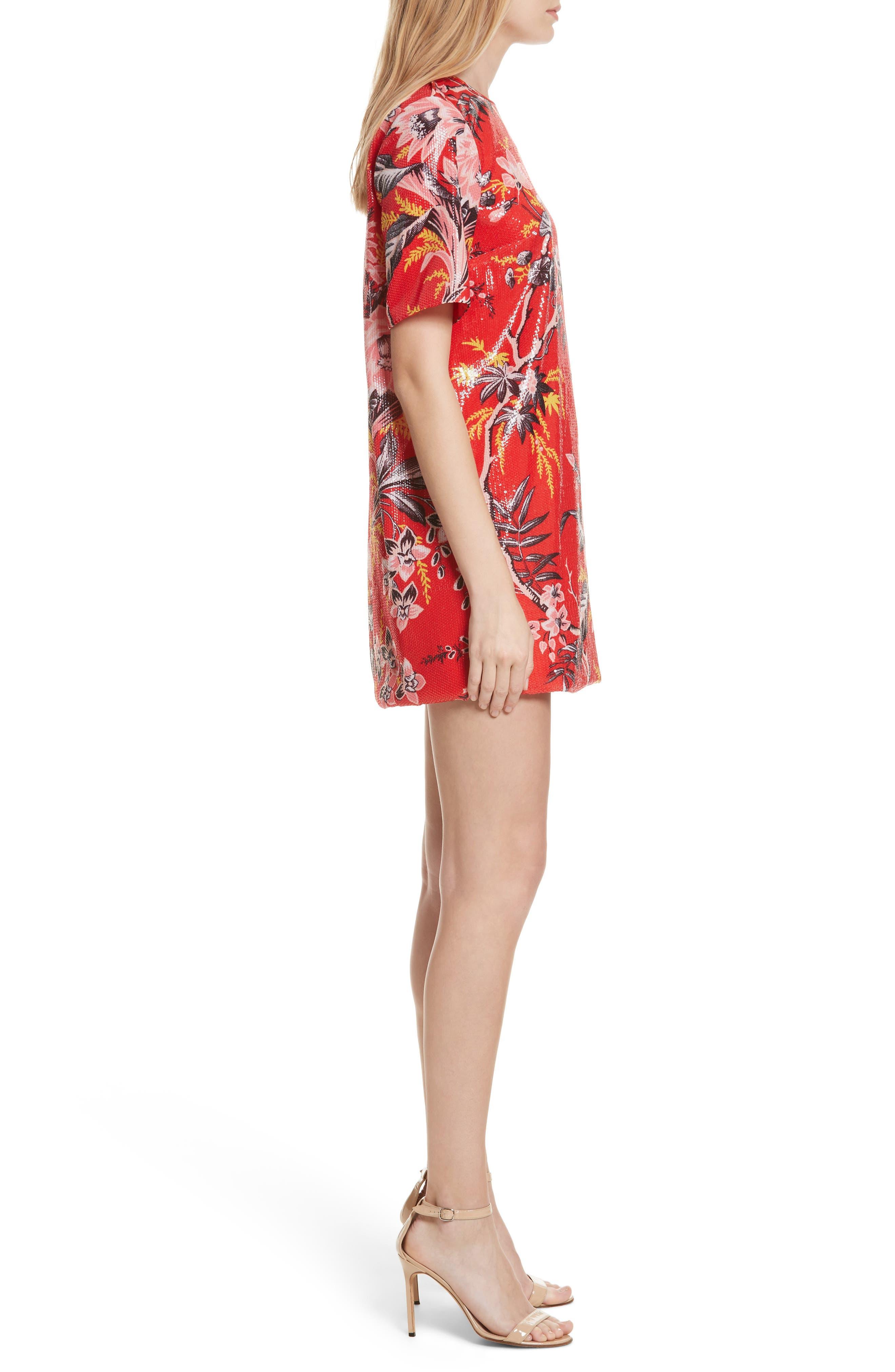 Diane von Furstenberg Fluid Sequin Minidress,                             Alternate thumbnail 3, color,                             Avalon Poppy