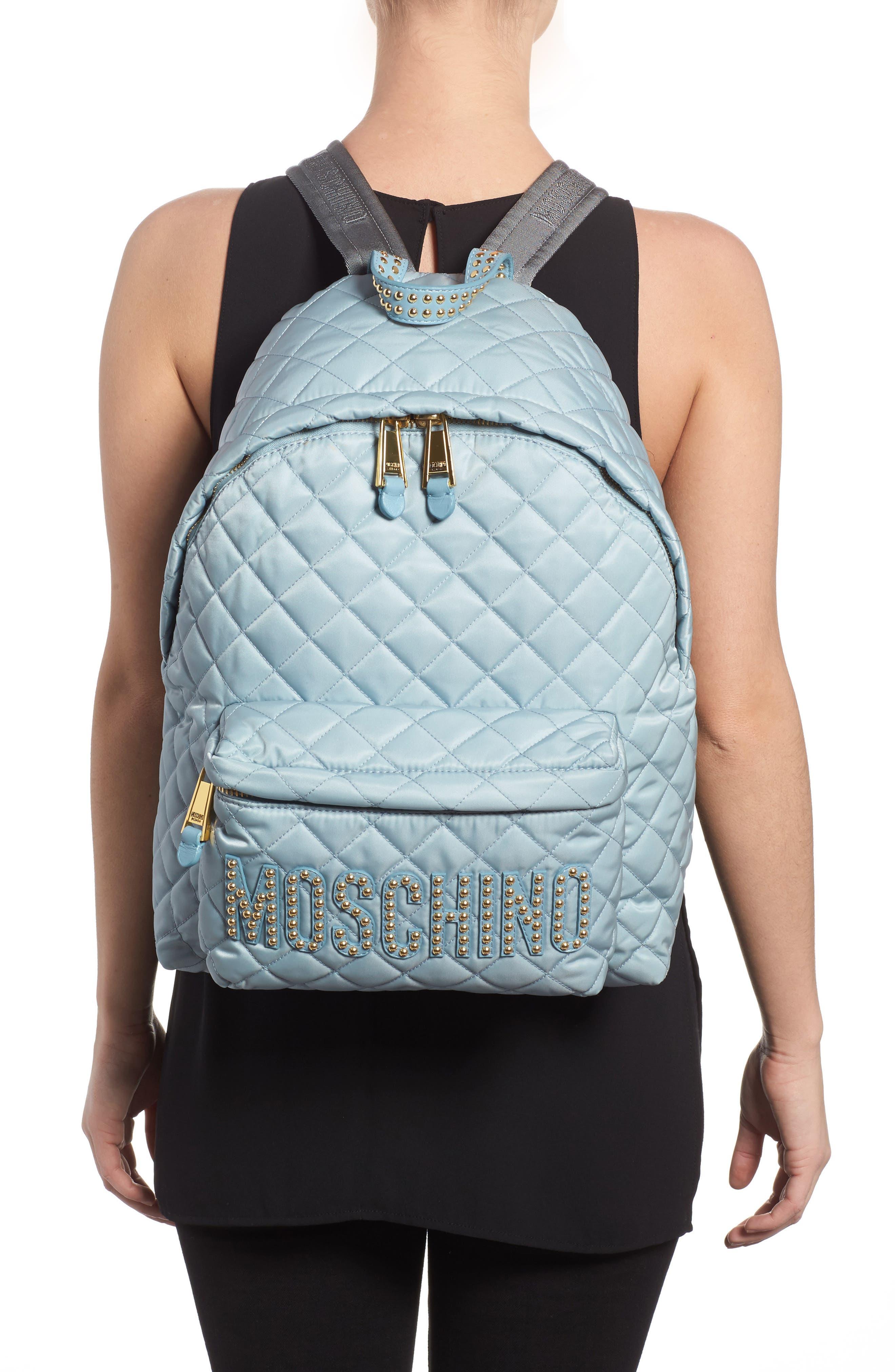 Studded Logo Quilted Nylon Backpack,                             Alternate thumbnail 2, color,                             Light Blue