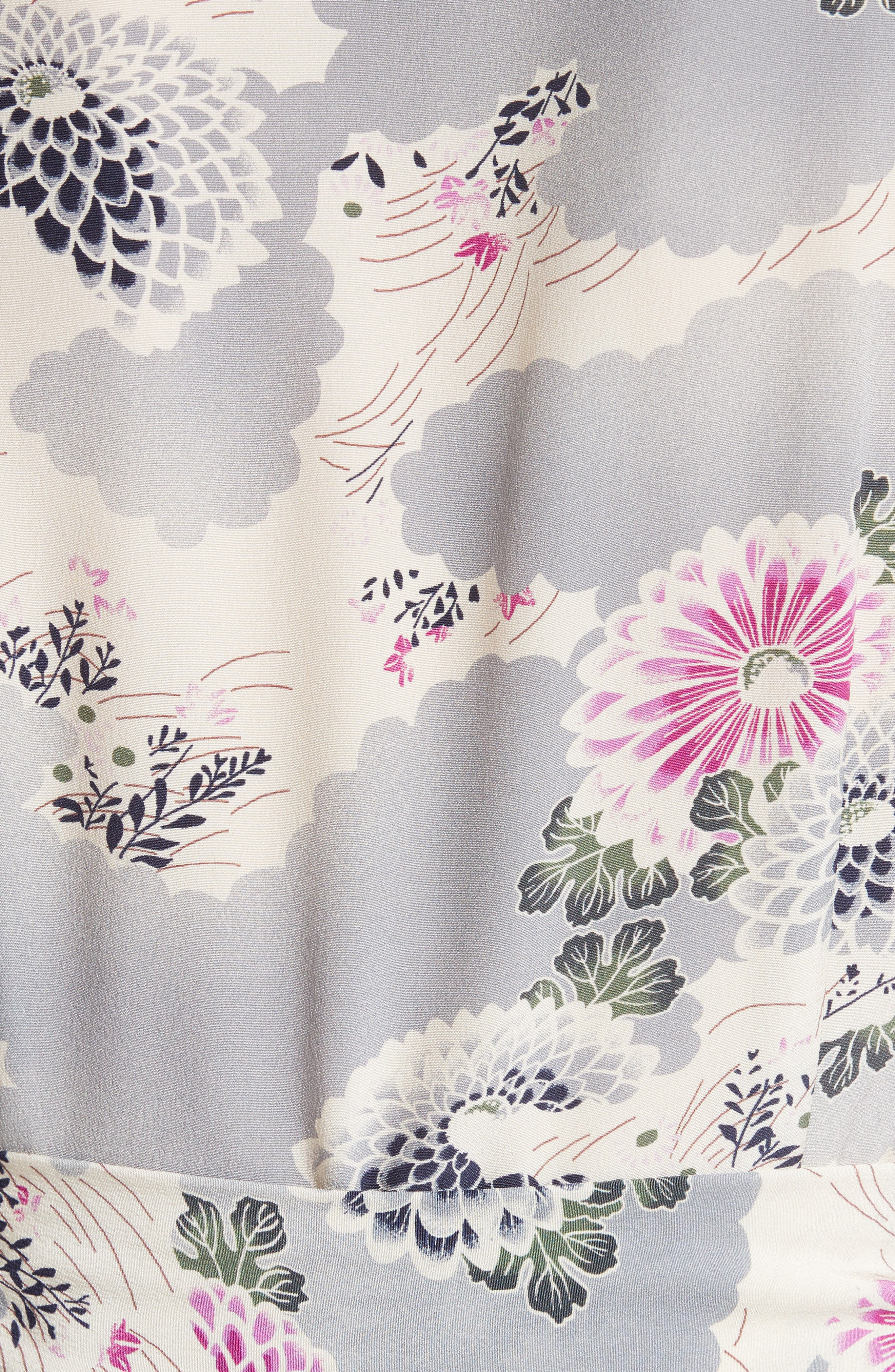 Alternate Image 6  - Co Floral Print Silk Crêpe de Chine Maxi Wrap Dress