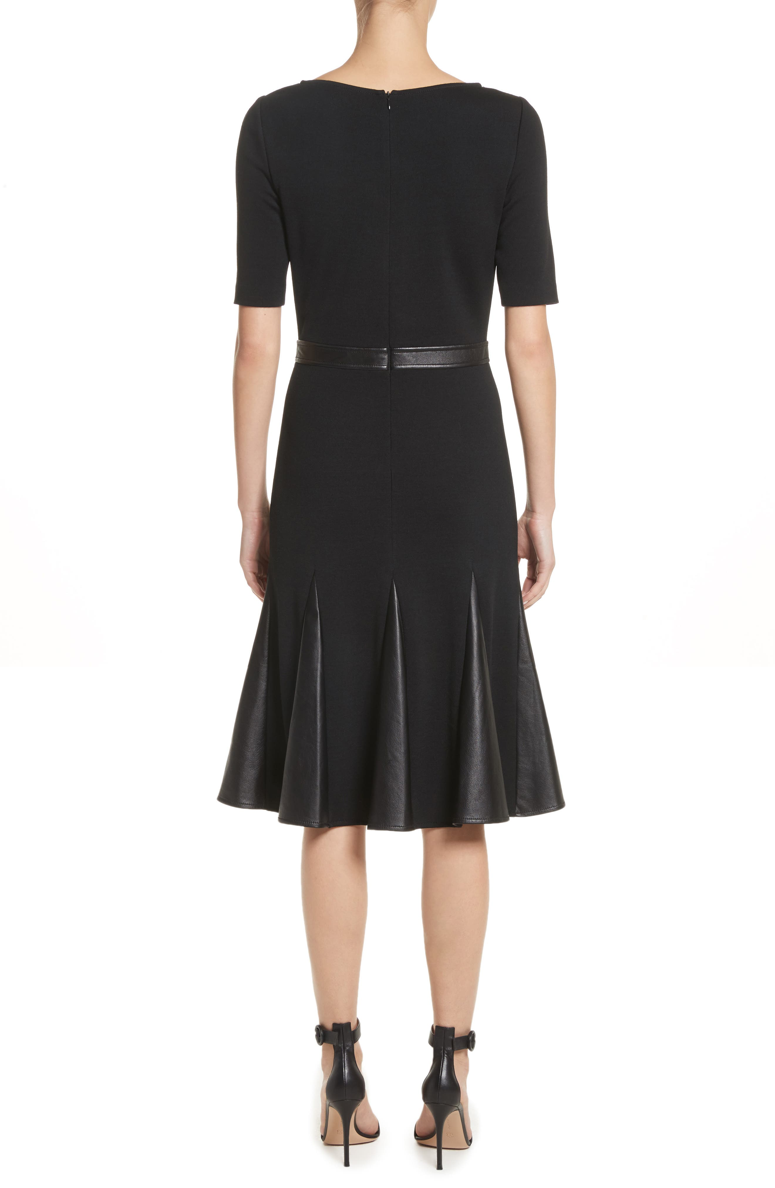 Alternate Image 2  - St. John Collection Pleated Milano Knit & Leather Dress