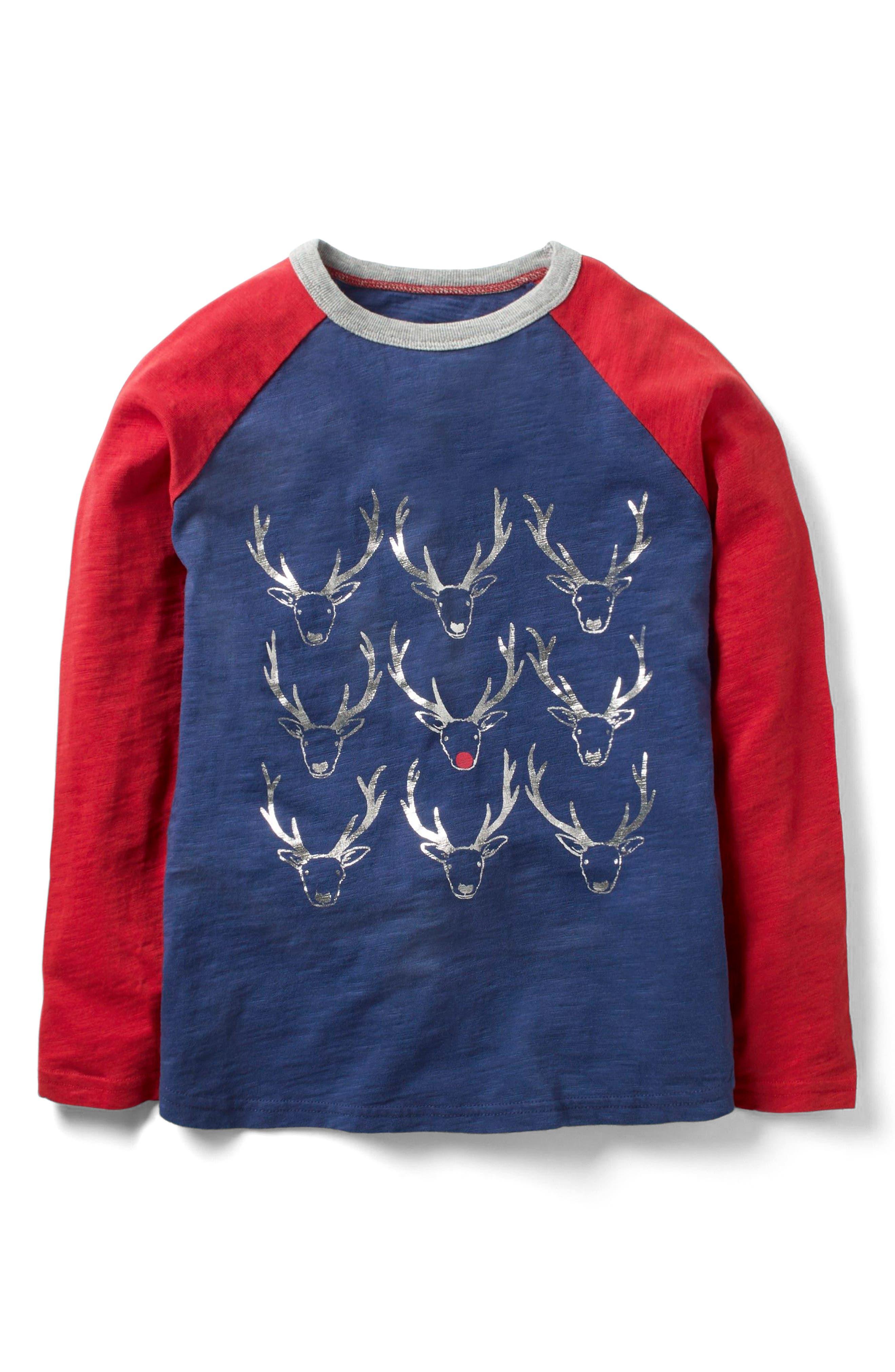 Mini Boden Festive Raglan T-Shirt (Toddler Boys, Little Boys & Big Boys)
