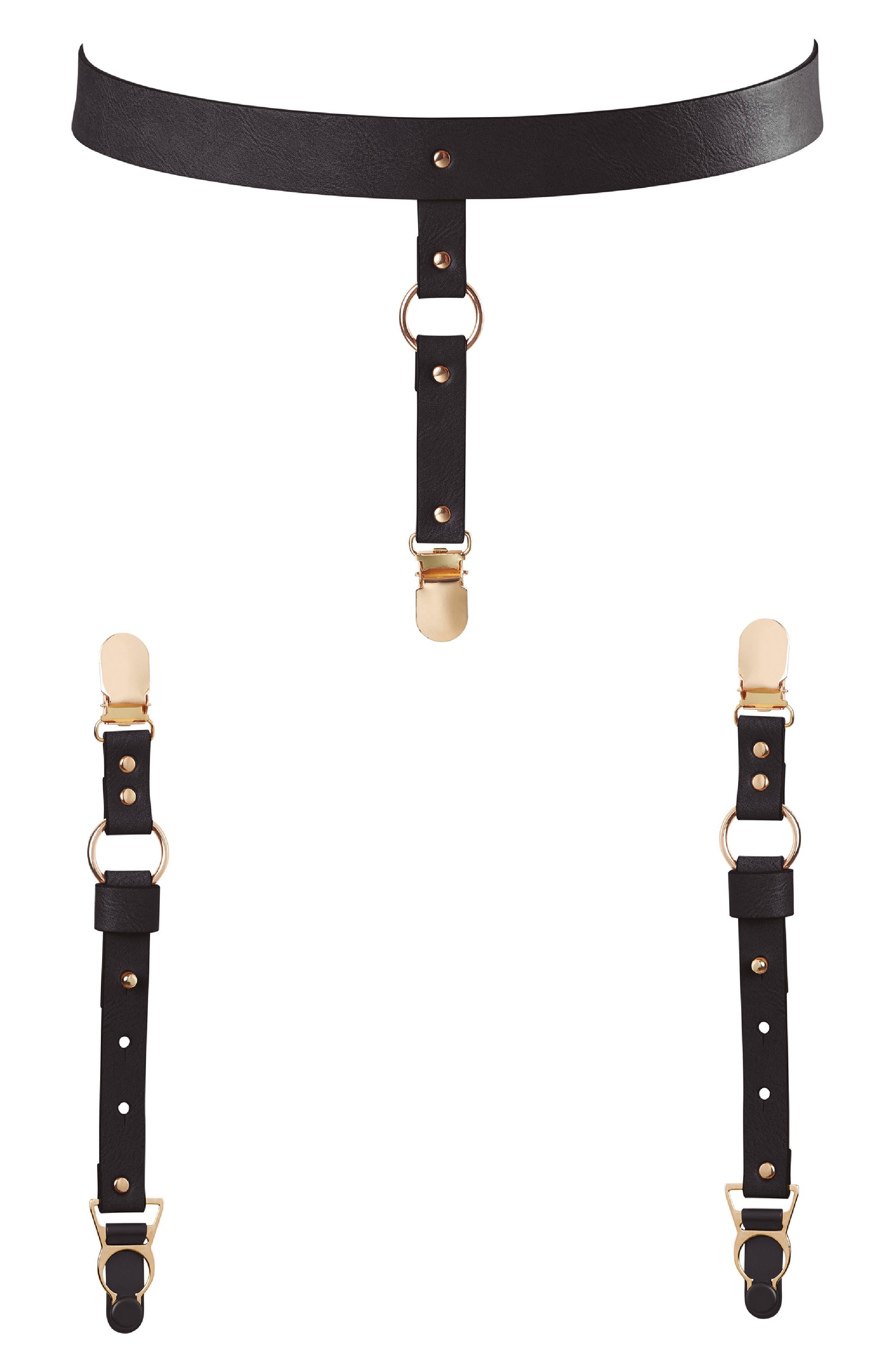 Maze Suspender Belt & Garter Straps,                             Main thumbnail 1, color,                             Black