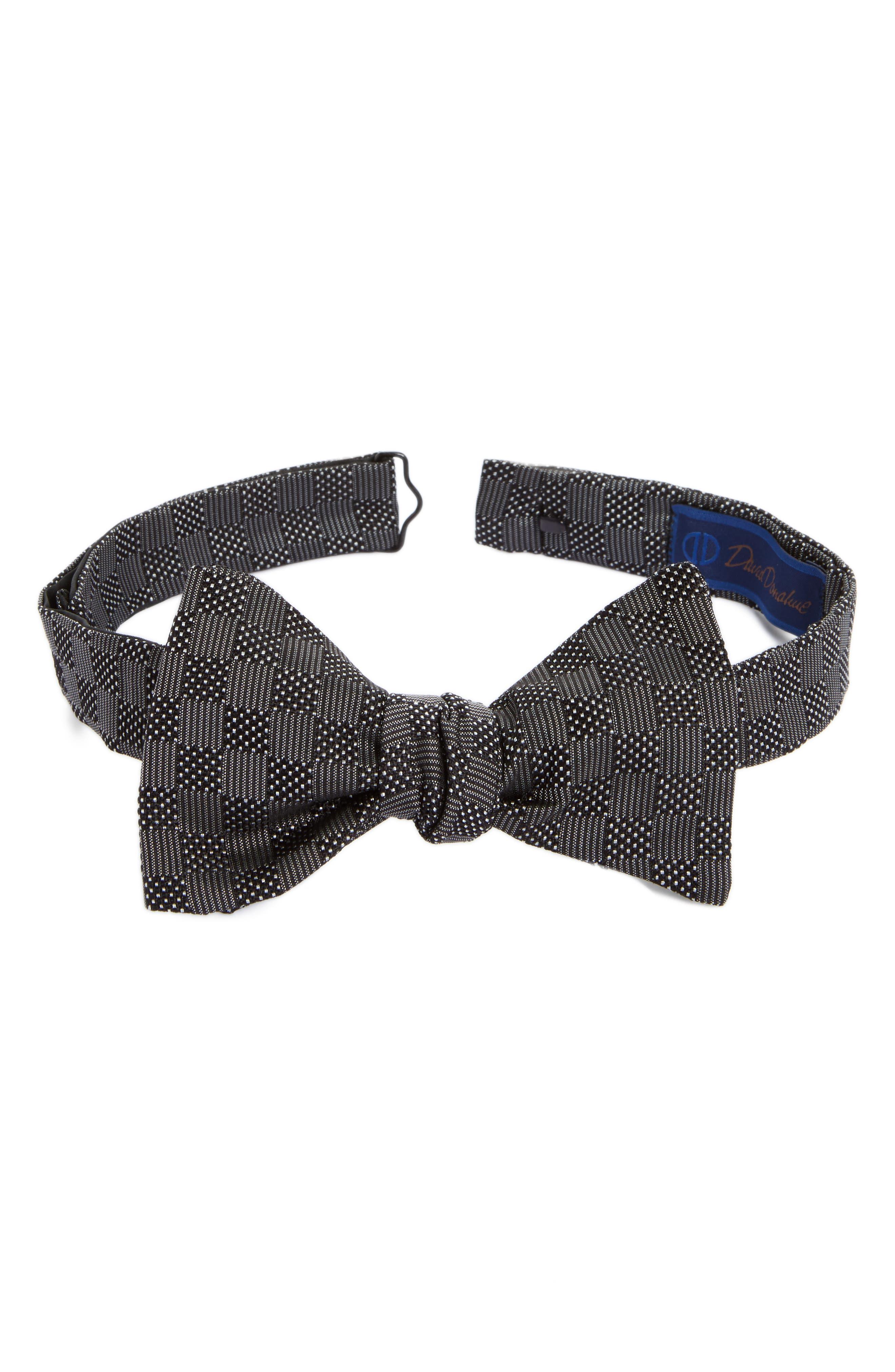 David Donahue Geometric Silk Bow Tie