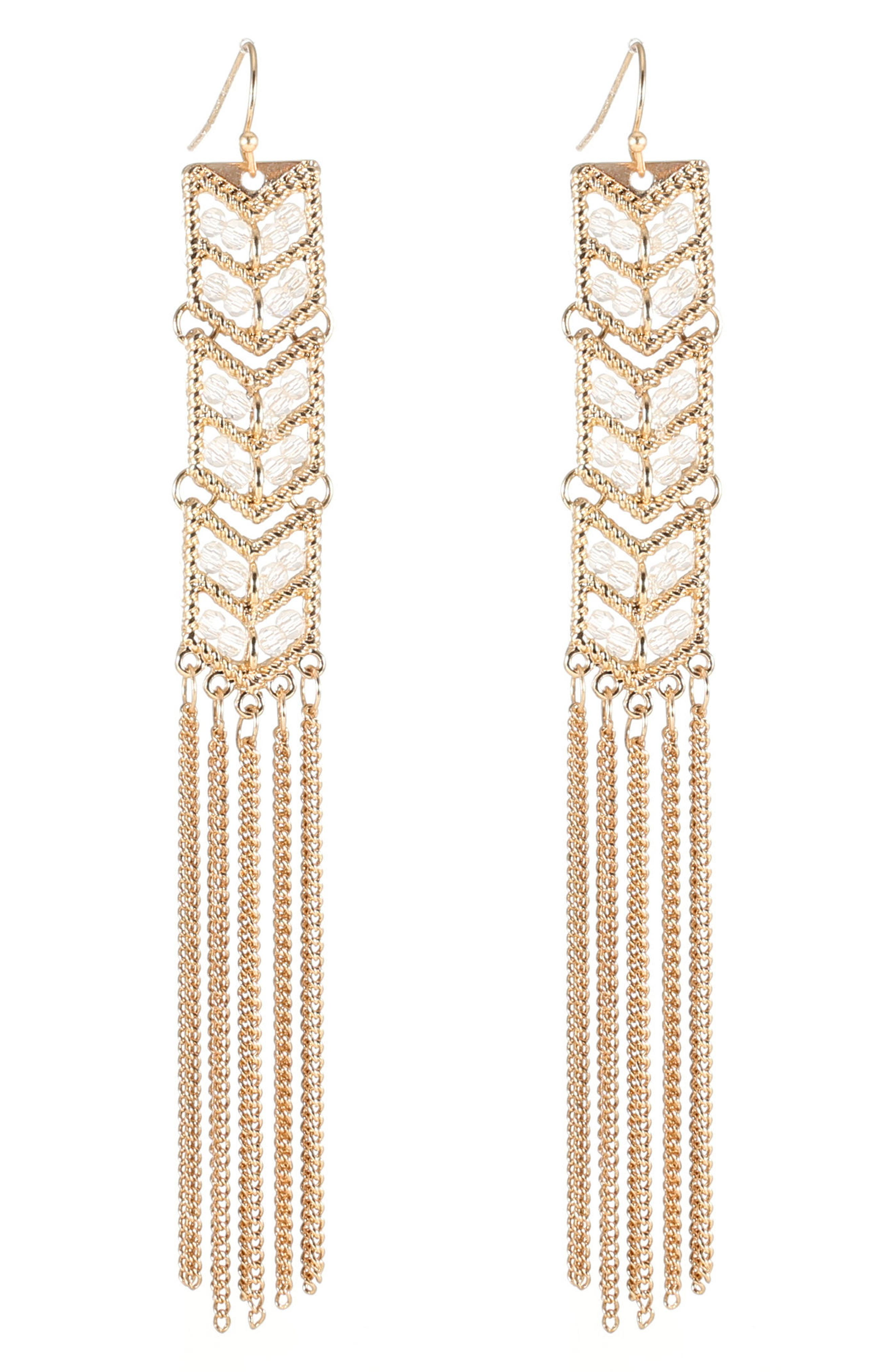 Tassel Chain Statement Earrings,                             Main thumbnail 1, color,                             Gold