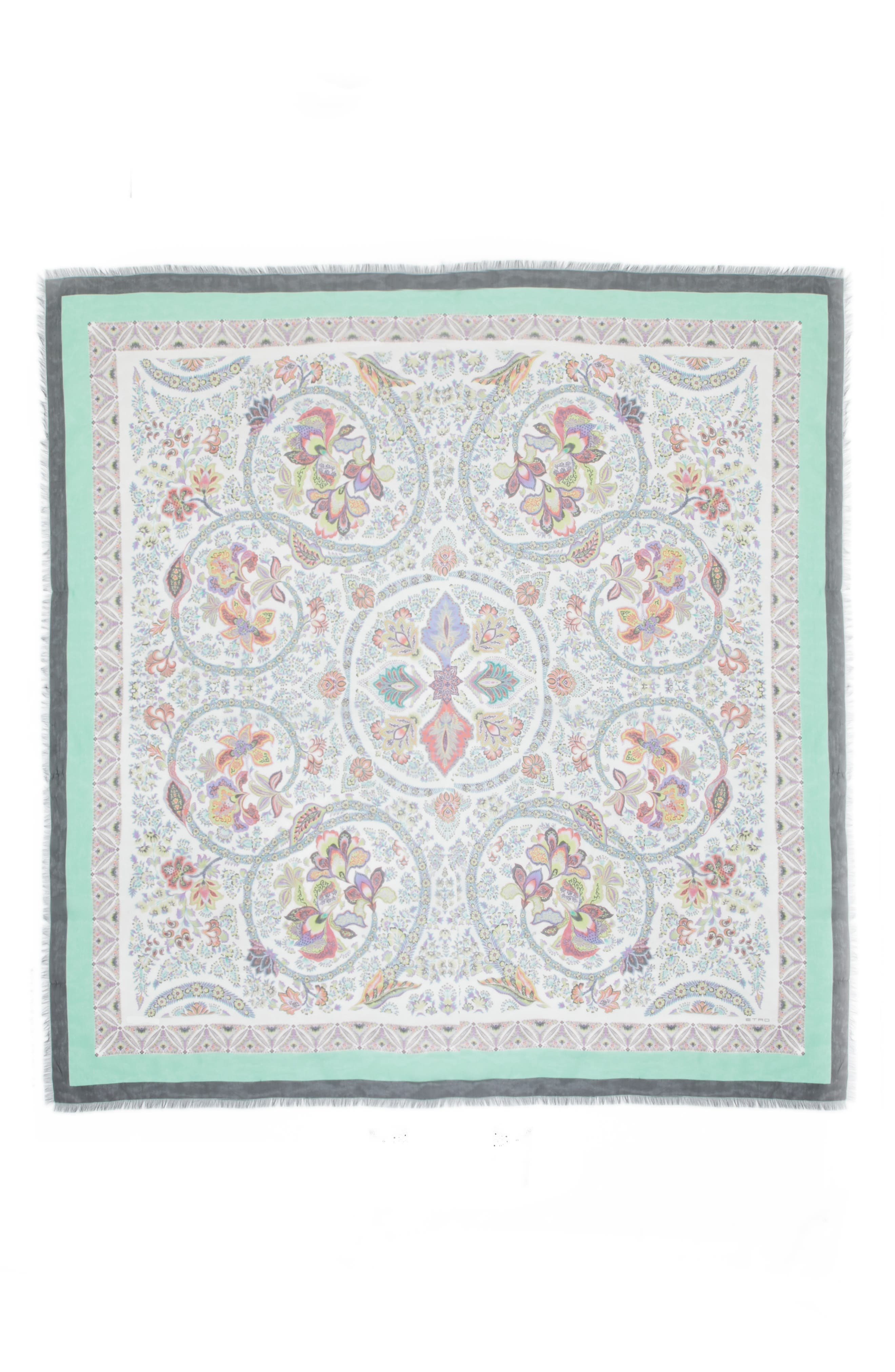 Etro Bordered Paisley Square Silk Scarf