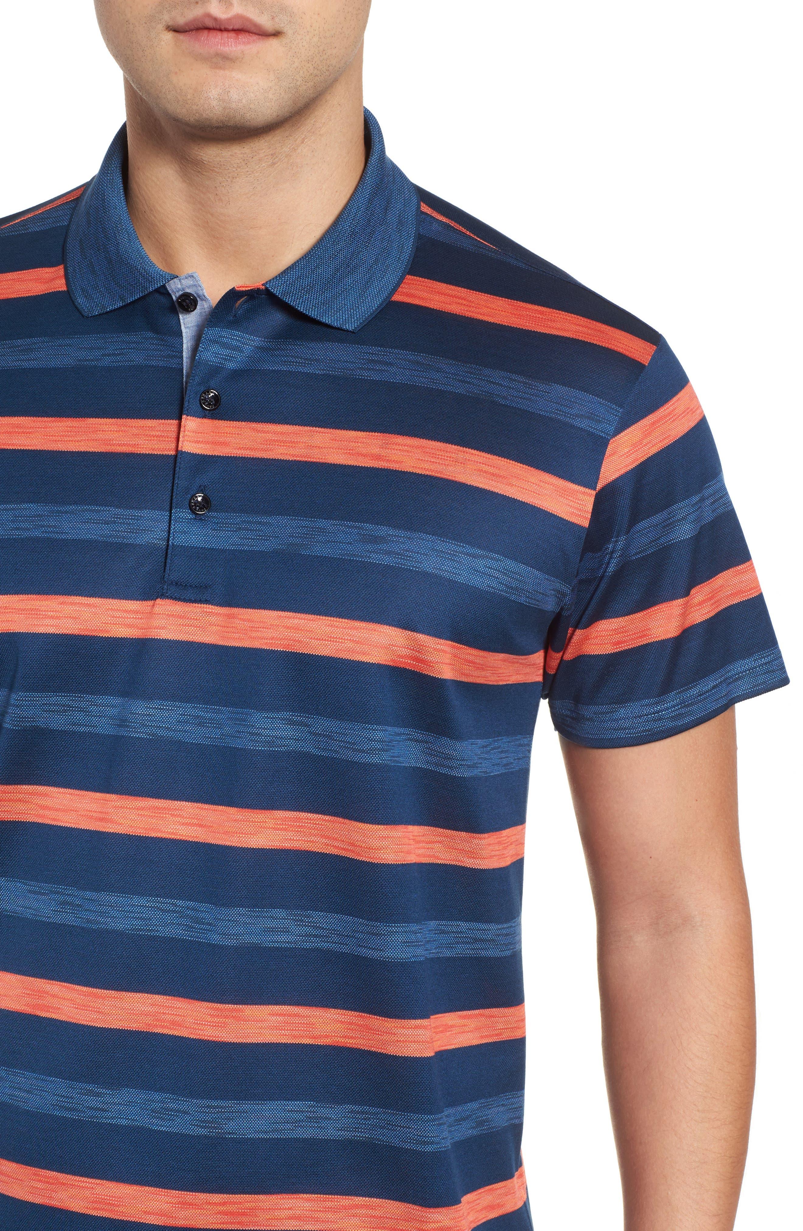 Paul&Shark Stripe Piqué Polo,                             Alternate thumbnail 4, color,                             Blue/ Orange