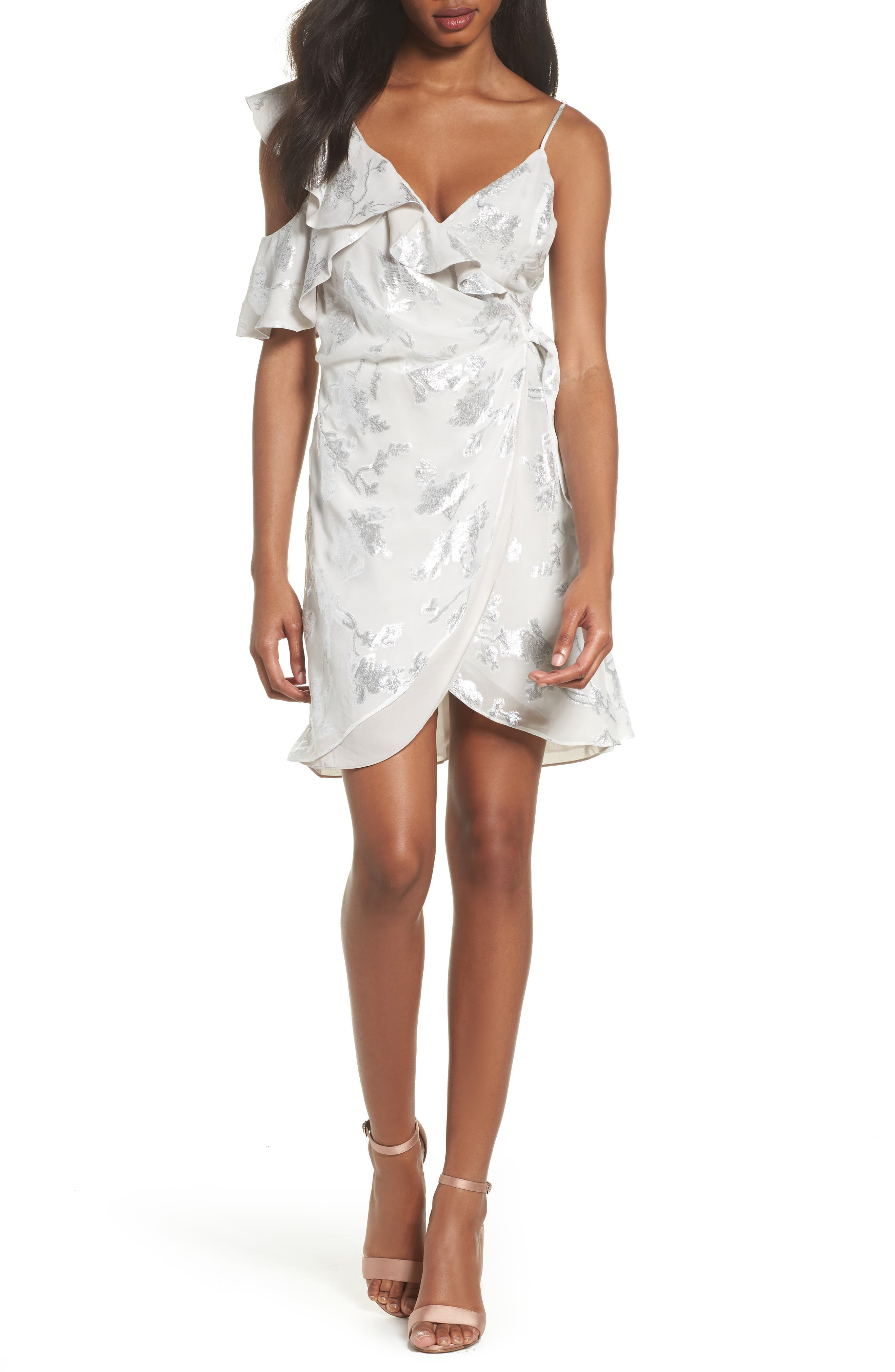 Cold Shoulder Wrap Dress,                         Main,                         color, Flower