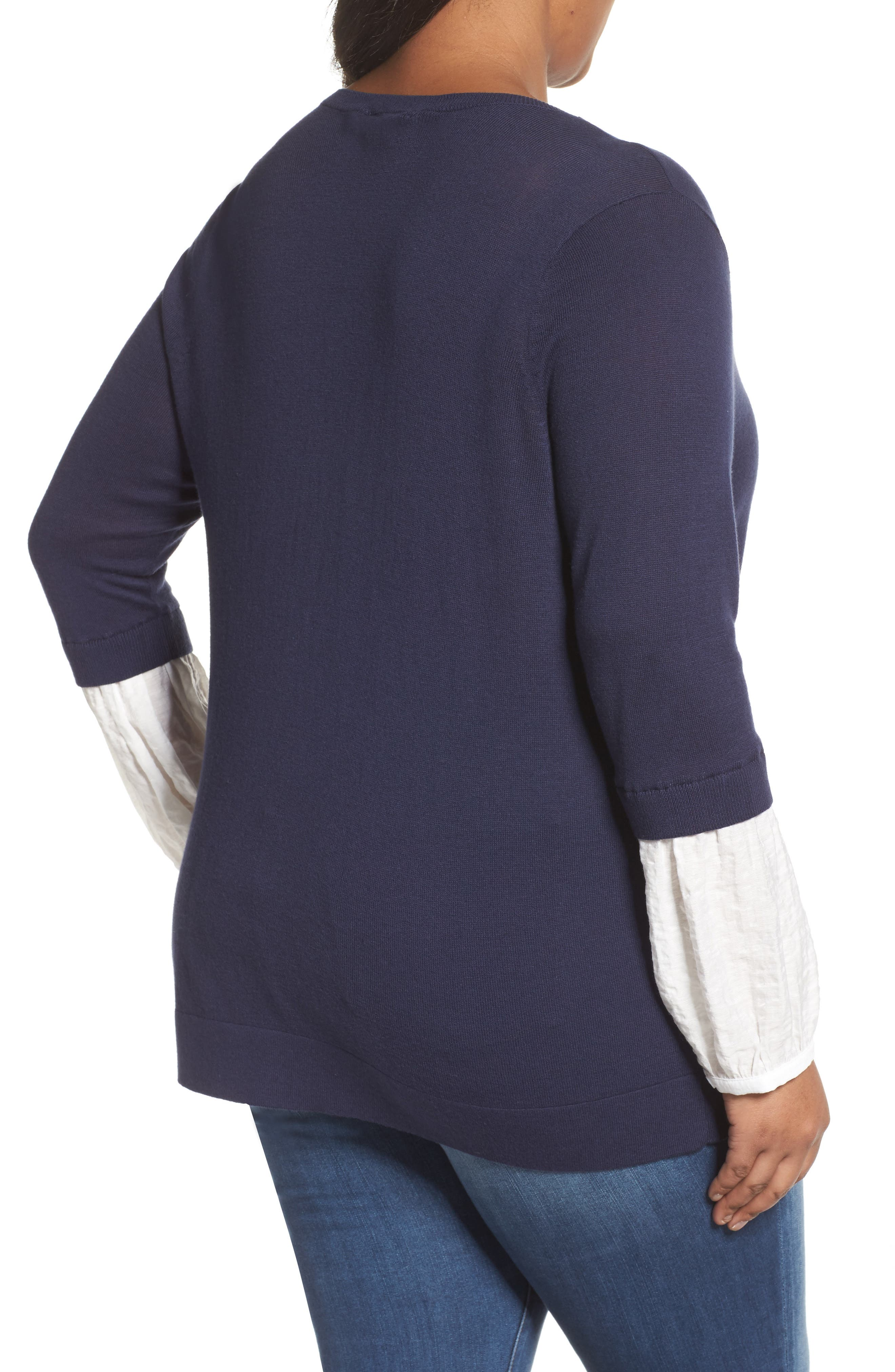 Mix Media Sweater,                             Alternate thumbnail 2, color,                             Navy- White Combo