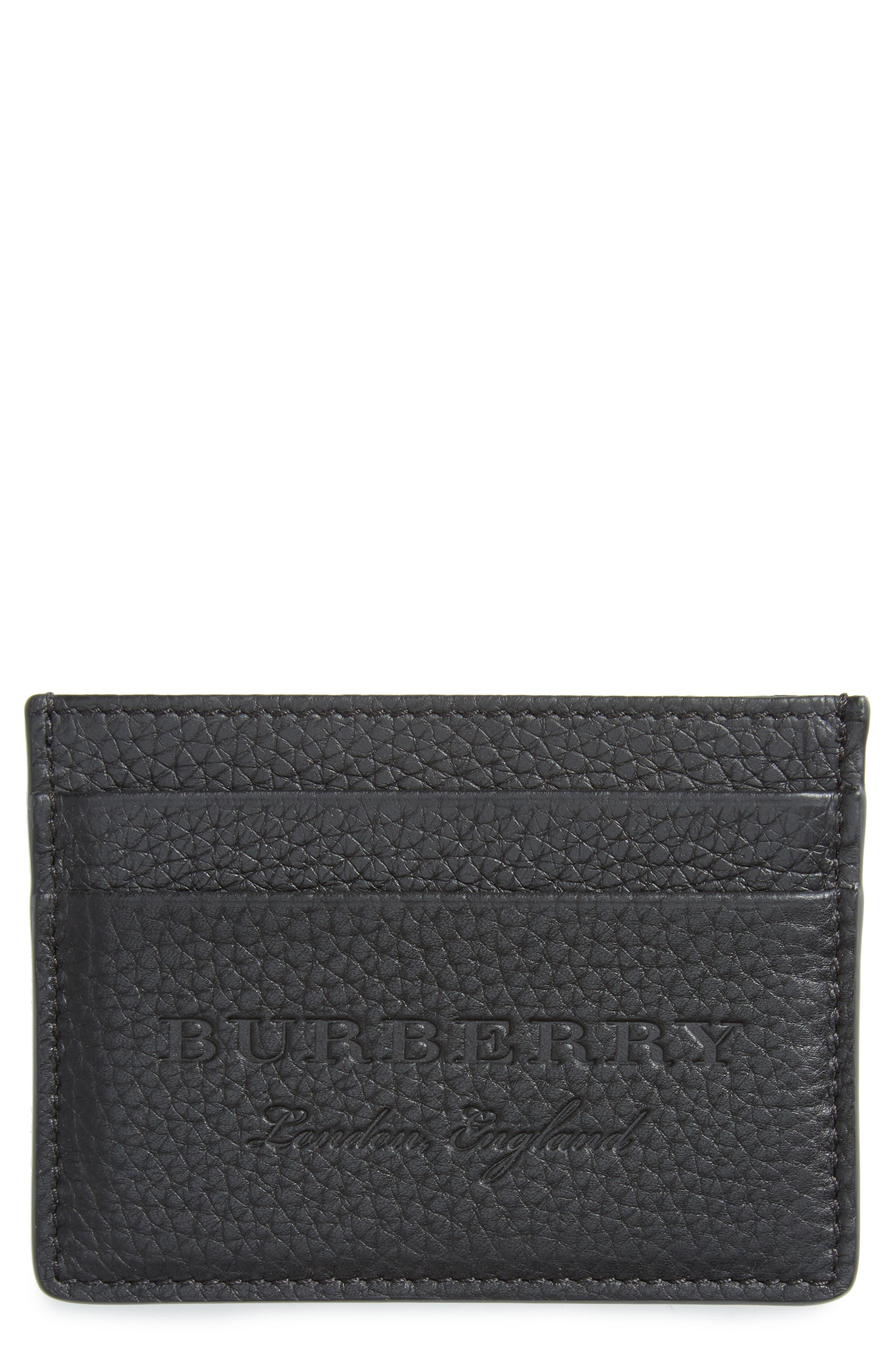 Sandon Leather Card Case,                             Main thumbnail 1, color,                             Black
