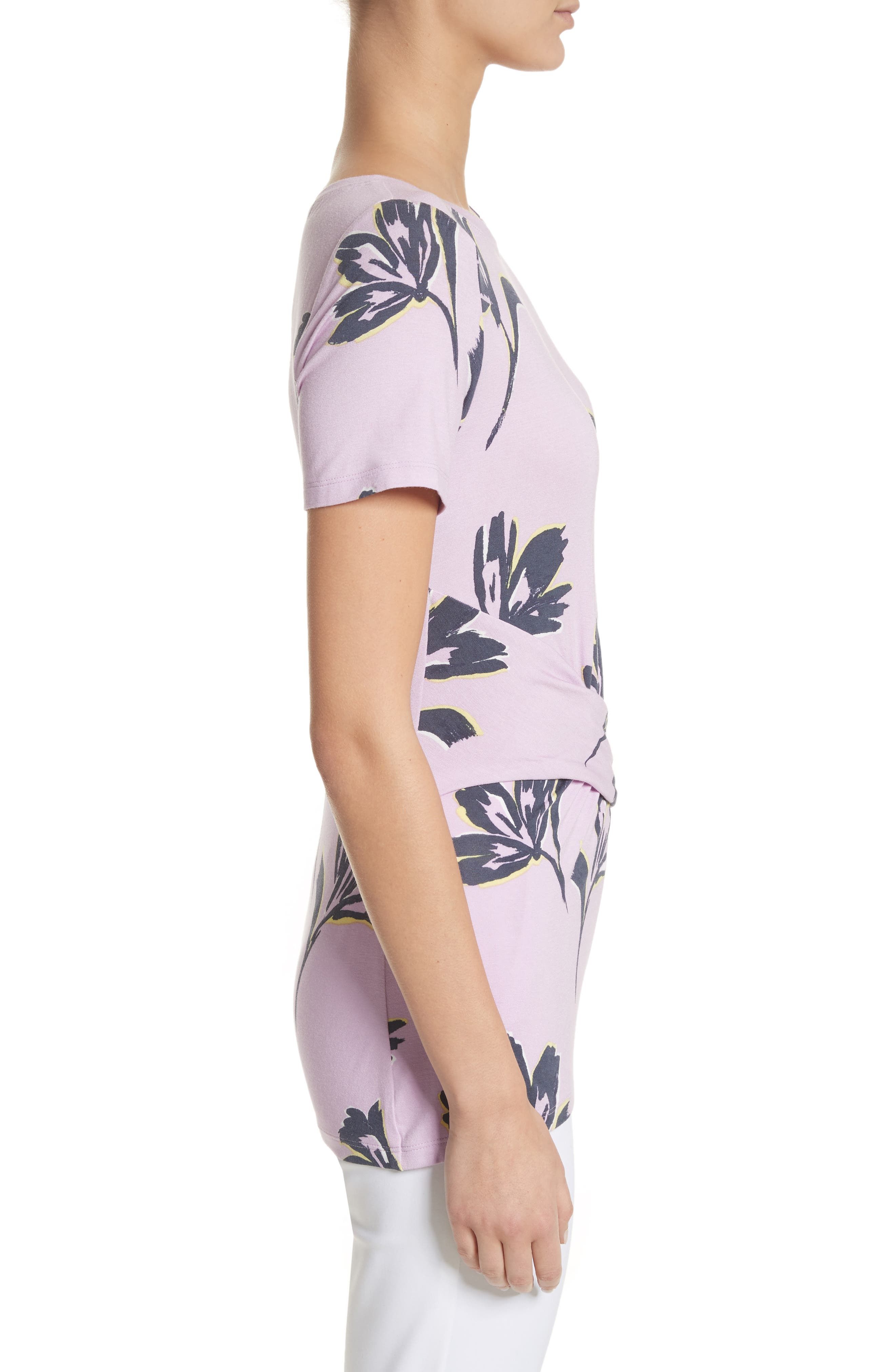Falling Flower Print Jersey Tee,                             Alternate thumbnail 3, color,                             Orchid Multi