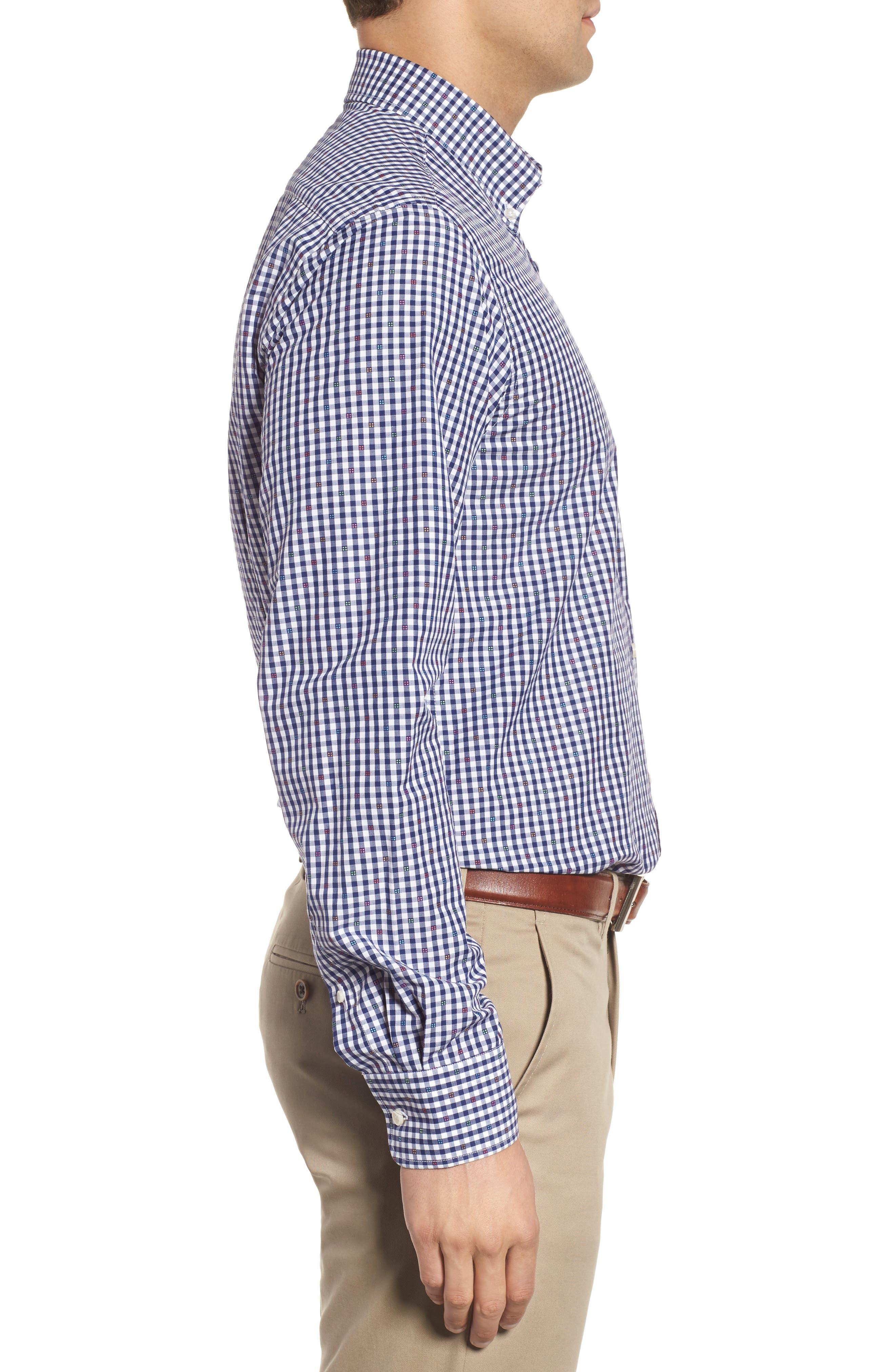 Paul&Shark Regular Fit Jacquard Check Sport Shirt,                             Alternate thumbnail 4, color,                             Navy/ White