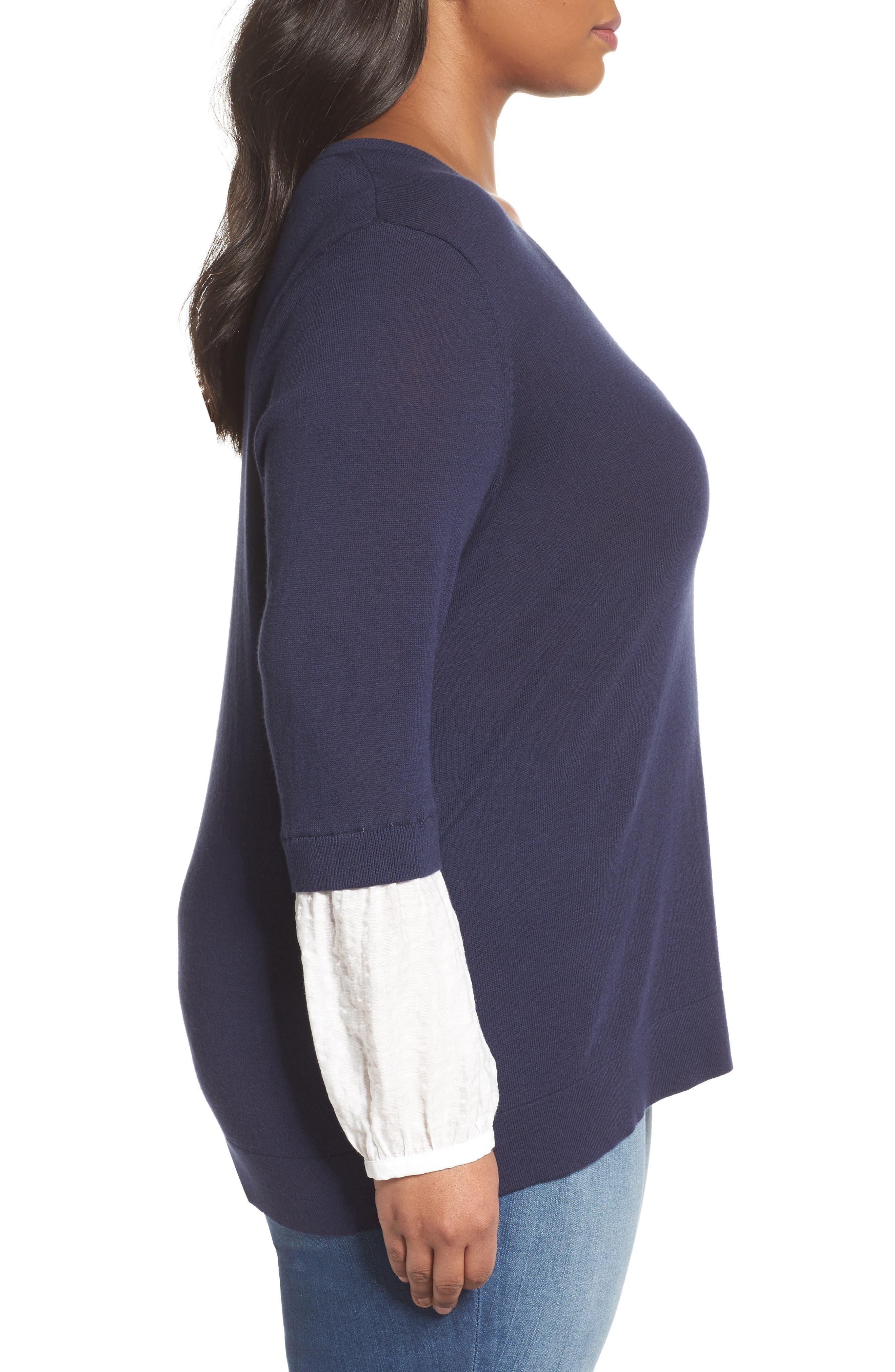 Mix Media Sweater,                             Alternate thumbnail 3, color,                             Navy- White Combo