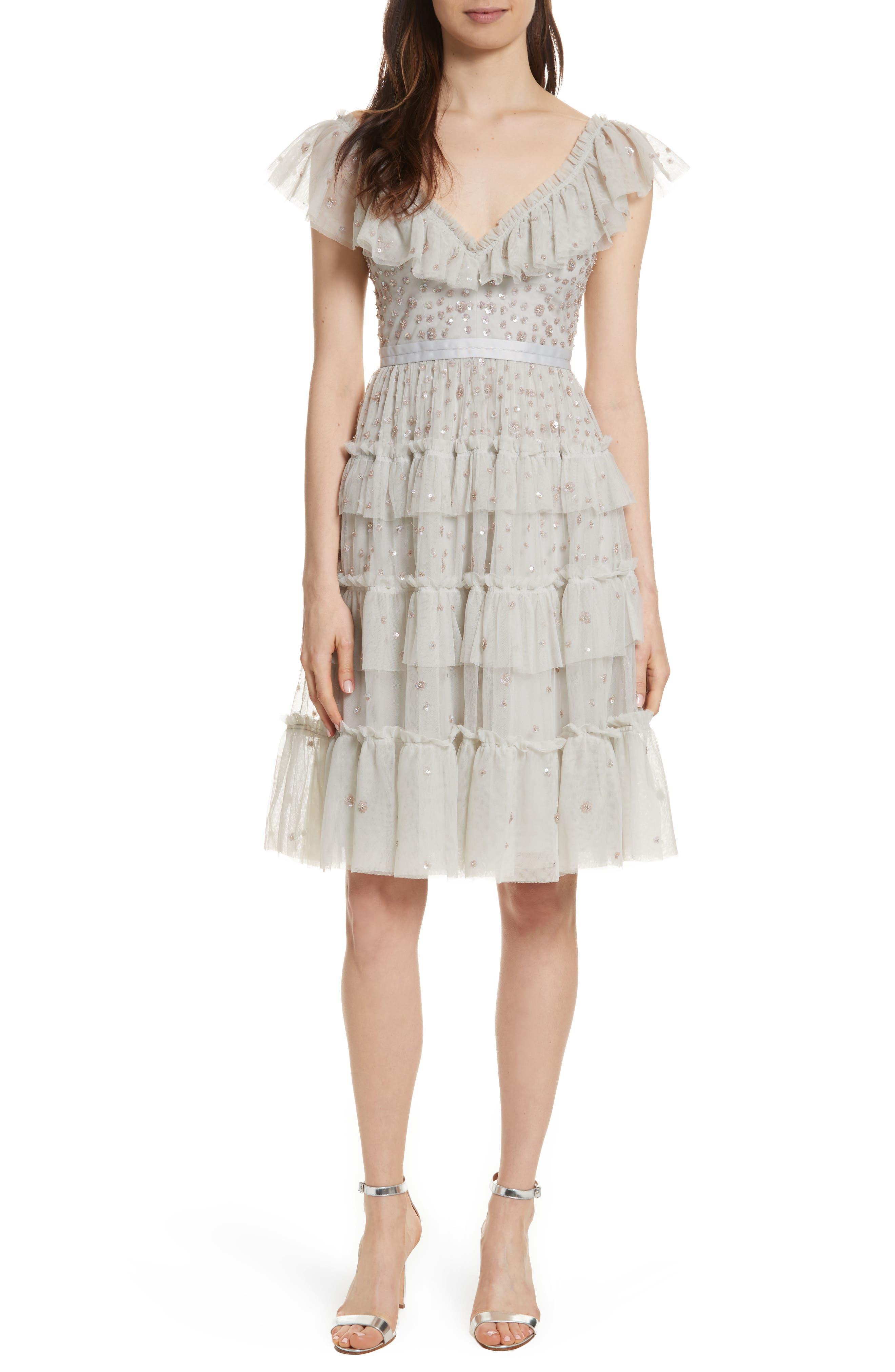 Sunburst Tiered Dress,                         Main,                         color, Bleached Blue