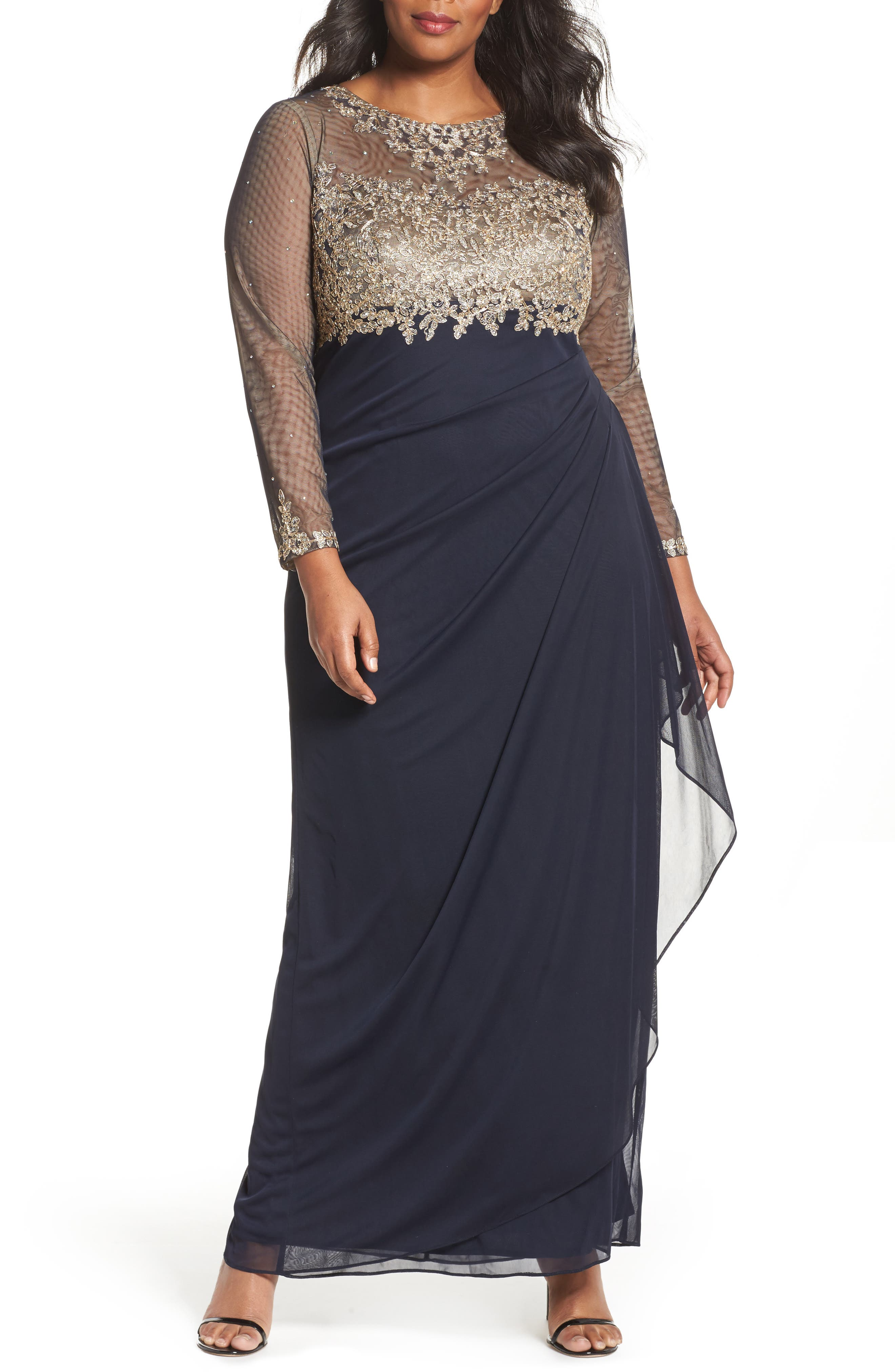 Embellished Mesh & Jersey Gown,                             Main thumbnail 1, color,                             Navy/ Gold