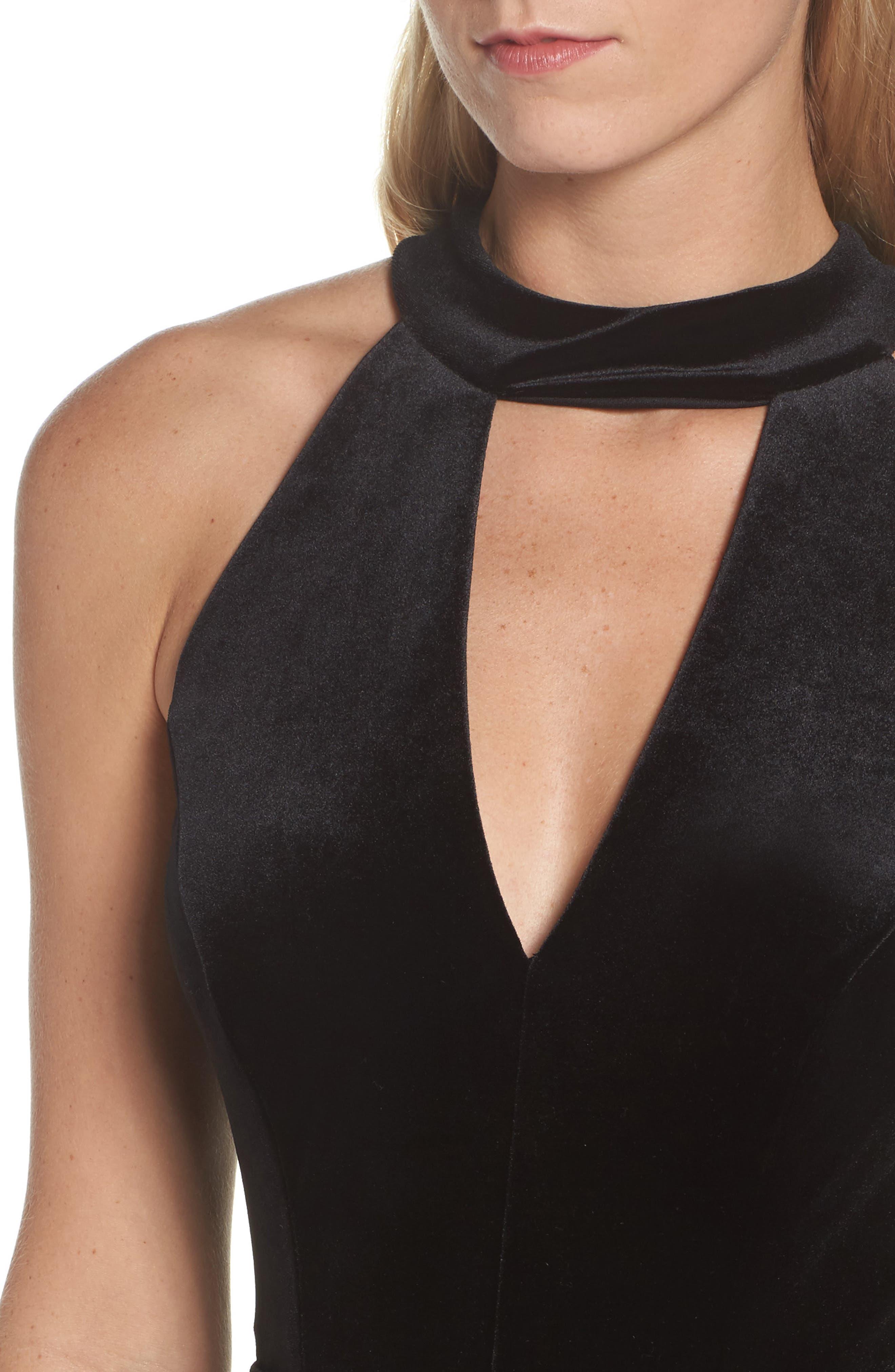 Velvet Choker Neck Wrap Dress,                             Alternate thumbnail 4, color,                             Black