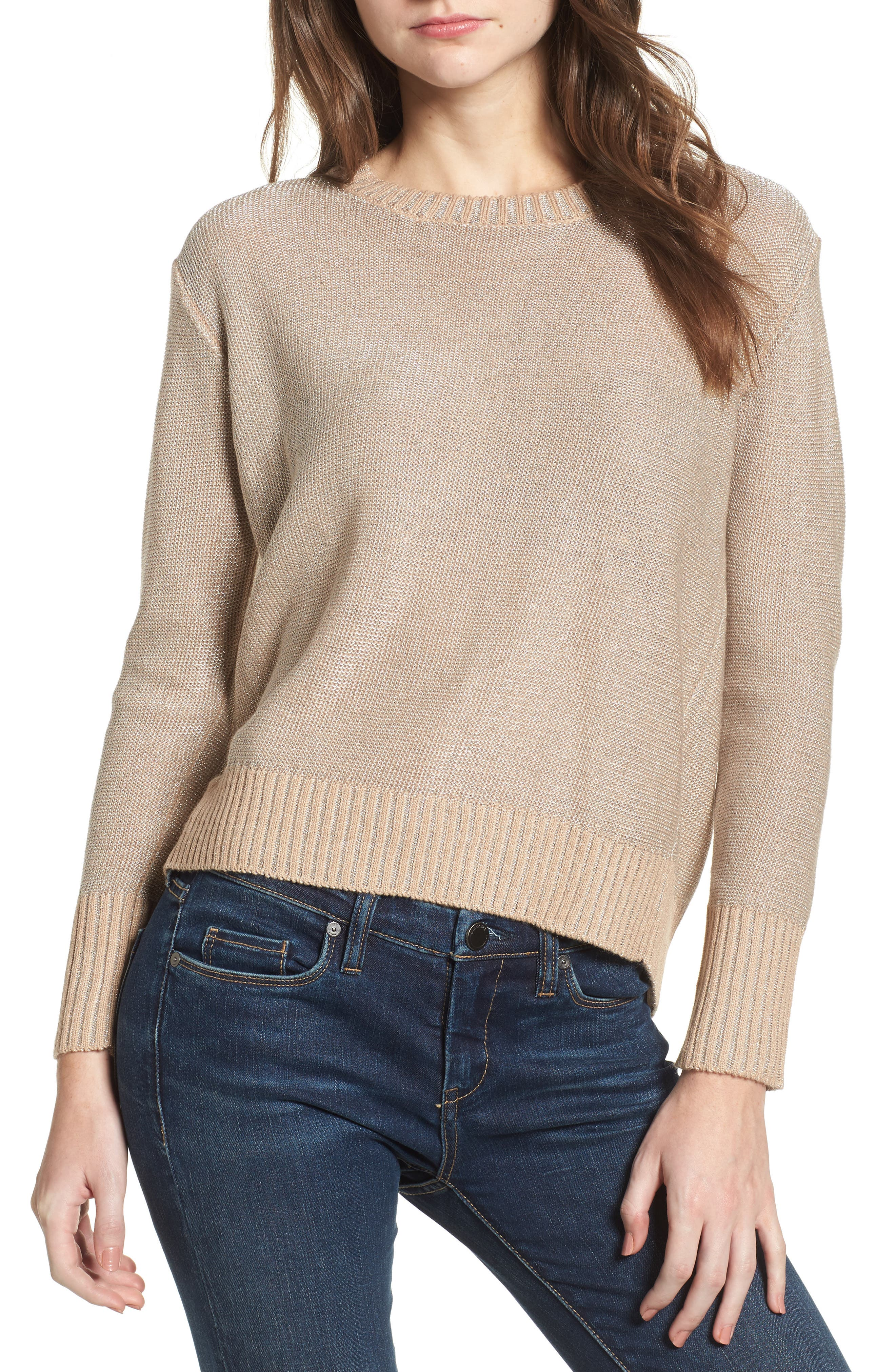 Metallic Flyaway Back Sweater,                         Main,                         color, Taupe/ Silver
