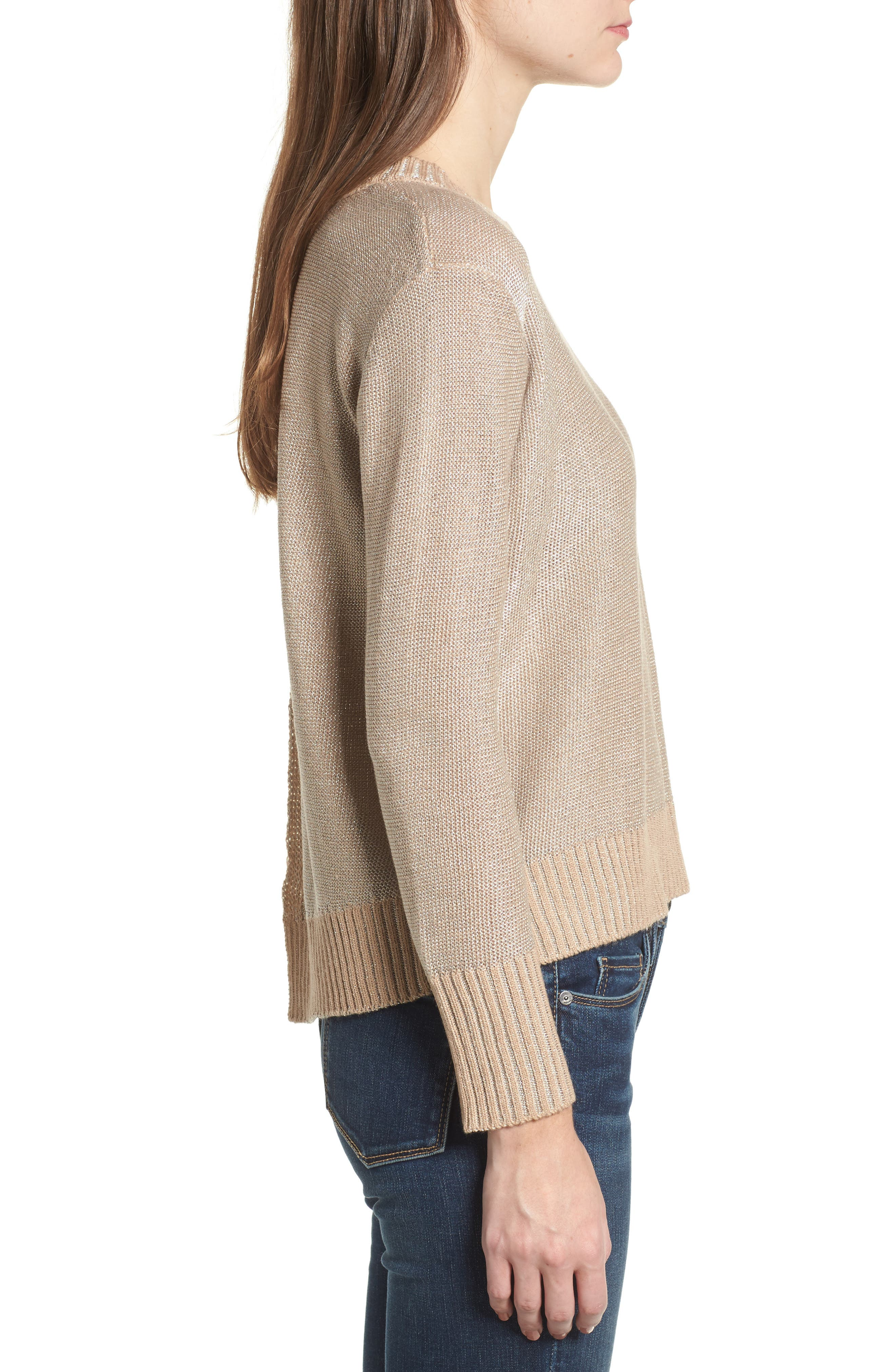 Metallic Flyaway Back Sweater,                             Alternate thumbnail 3, color,                             Taupe/ Silver