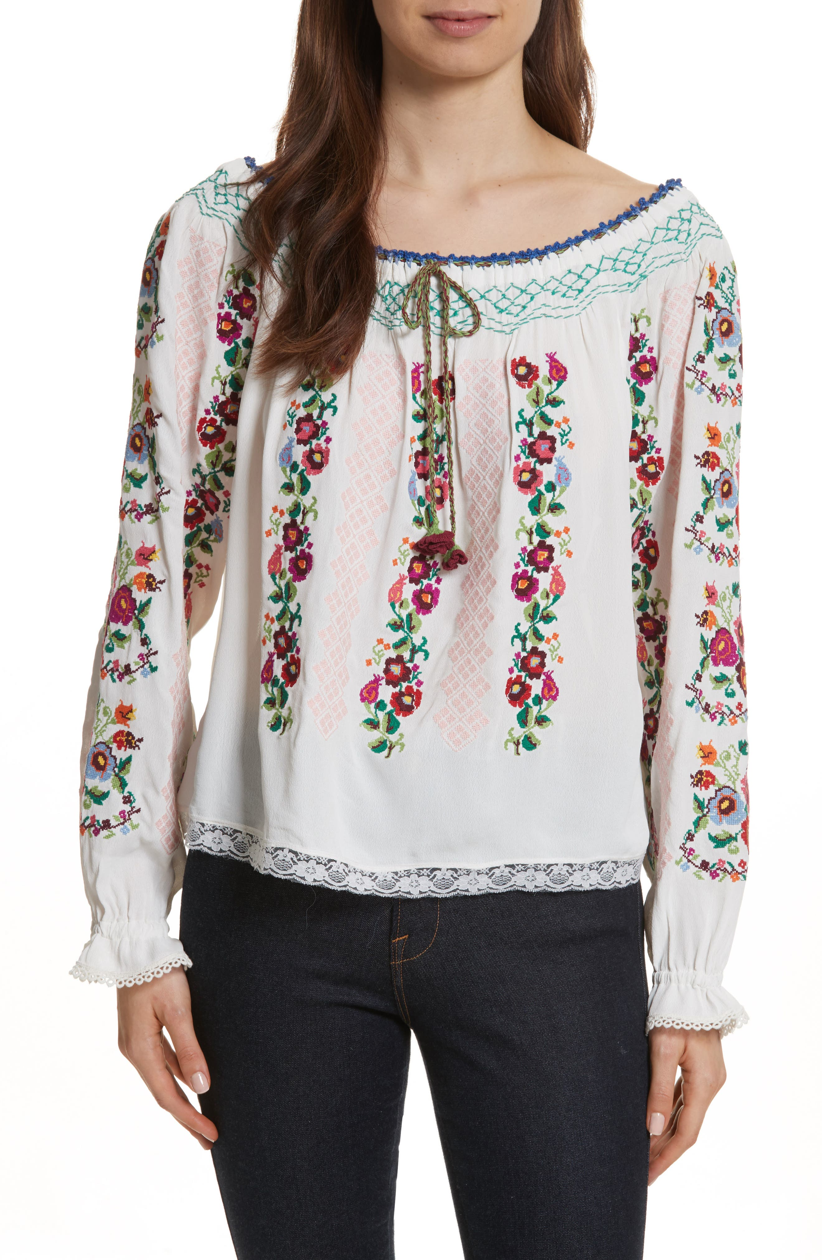 Cross Stitch Floral Top,                         Main,                         color, White