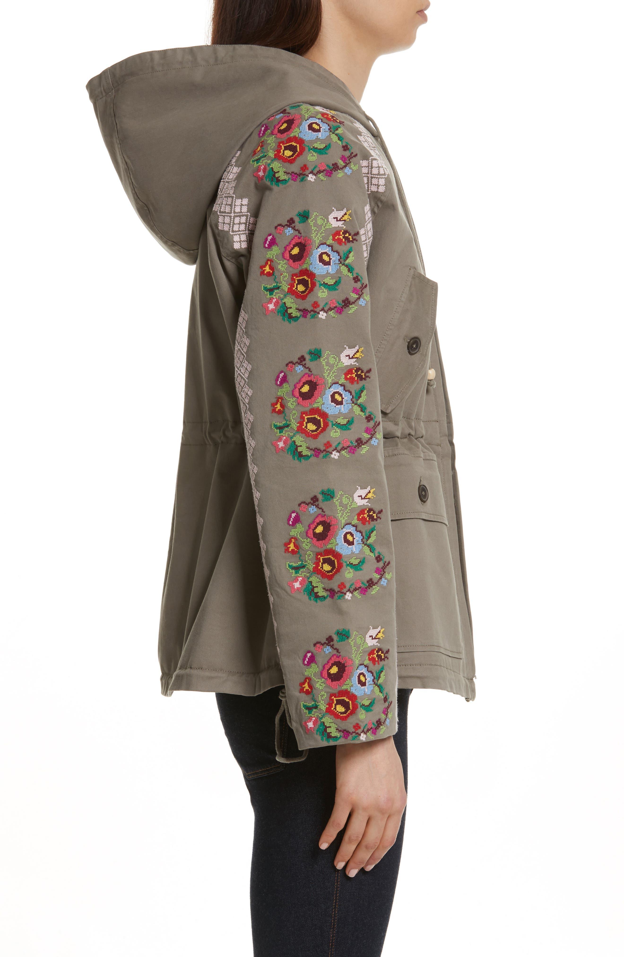 Cross Stitch Flower Parka,                             Alternate thumbnail 3, color,                             Khaki