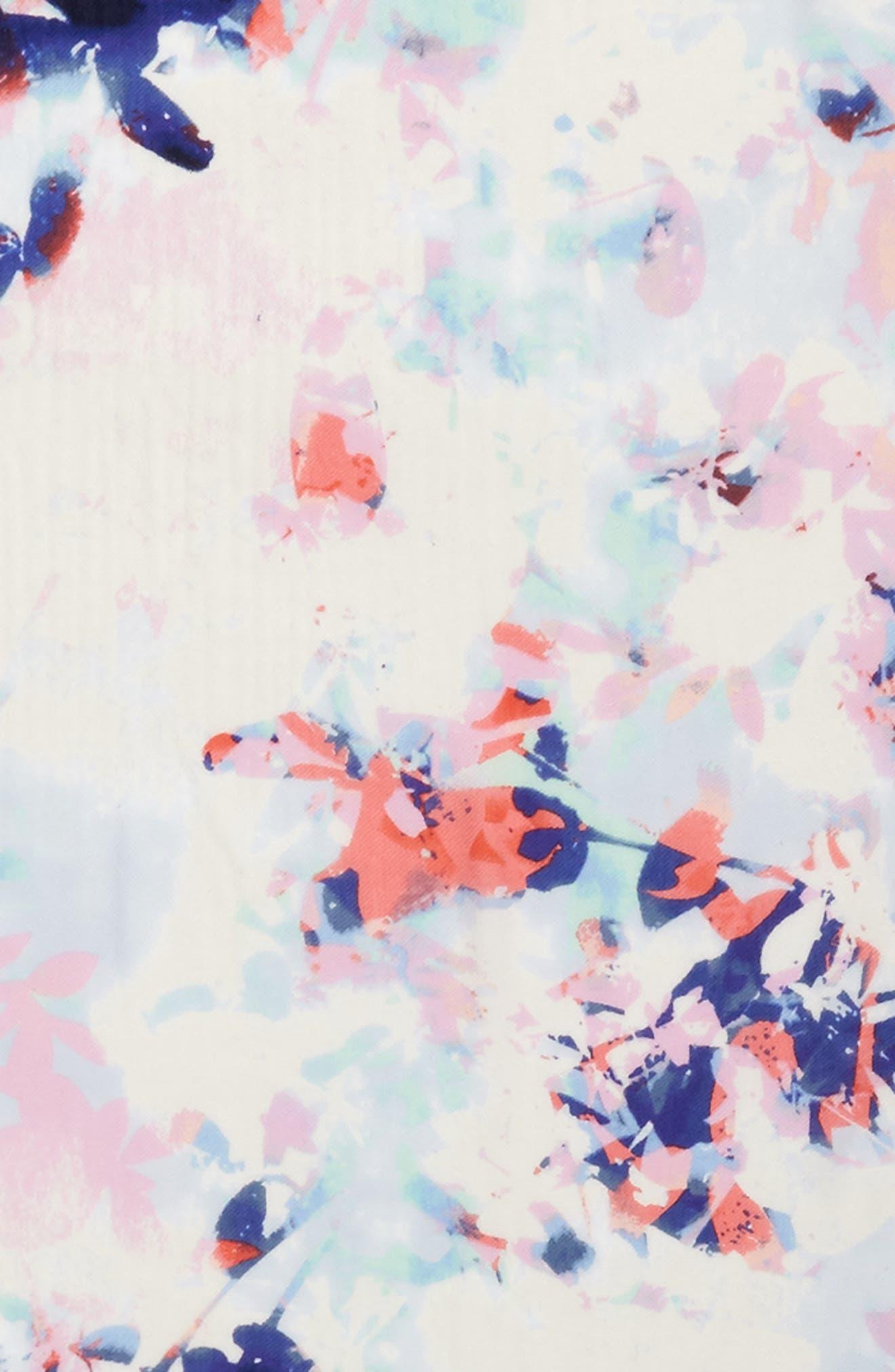 Tissue Print Wool & Cashmere Wrap Scarf,                             Alternate thumbnail 4, color,                             Blue Hidden Floral